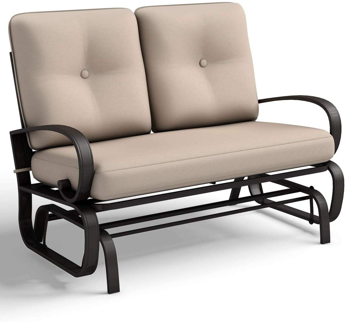 Giantex Loveseat Outdoor Patio Rocking Glider Cushioned 2 Seats Steel Frame  Furniture (Beige) Pertaining To 2020 Rocking Glider Benches With Cushions (View 6 of 30)