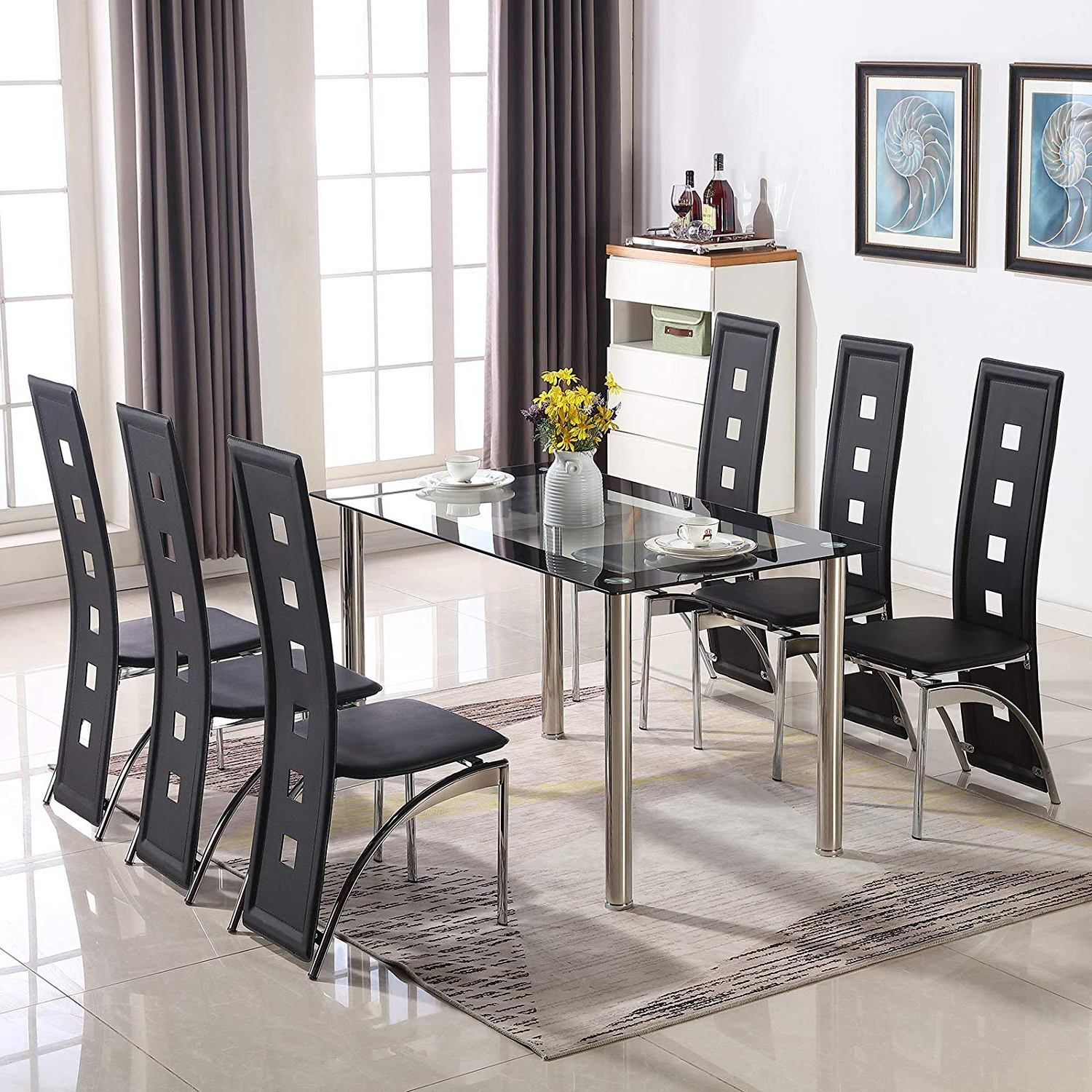 Glass Dining Tables With Metal Legs Inside Newest Kitchen & Dining Tables Modern Black&clear Tempered Glass (View 21 of 30)