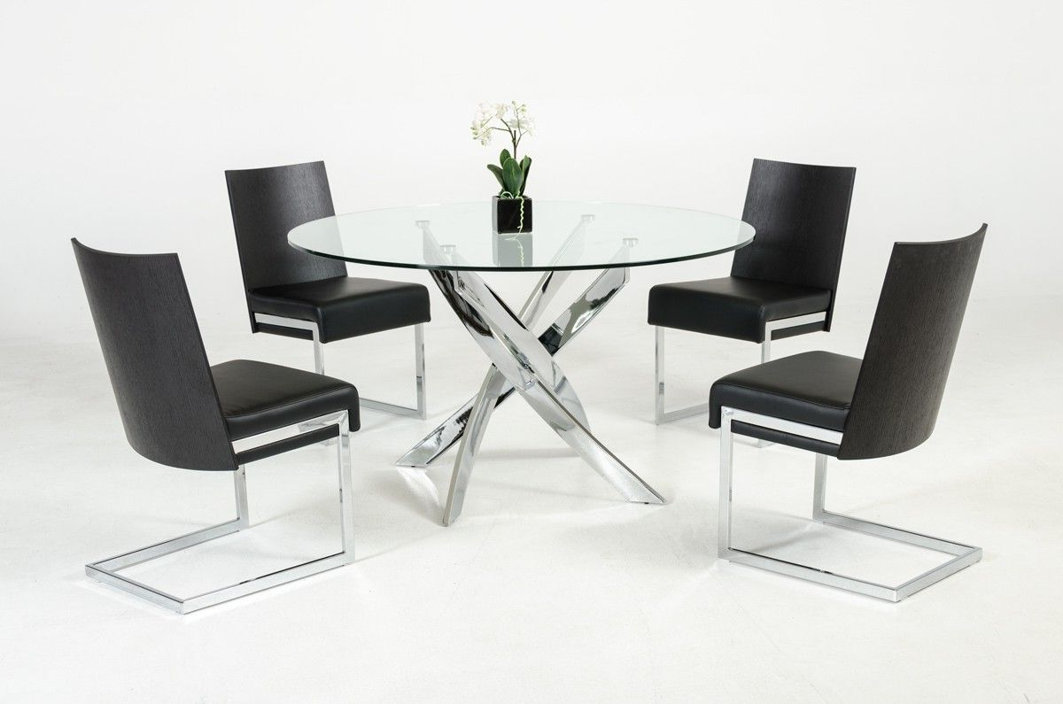 Glass Dining Tables With Metal Legs Intended For Preferred Contemporary Round Glass Top And Stainless Steel Base Dining (View 11 of 30)
