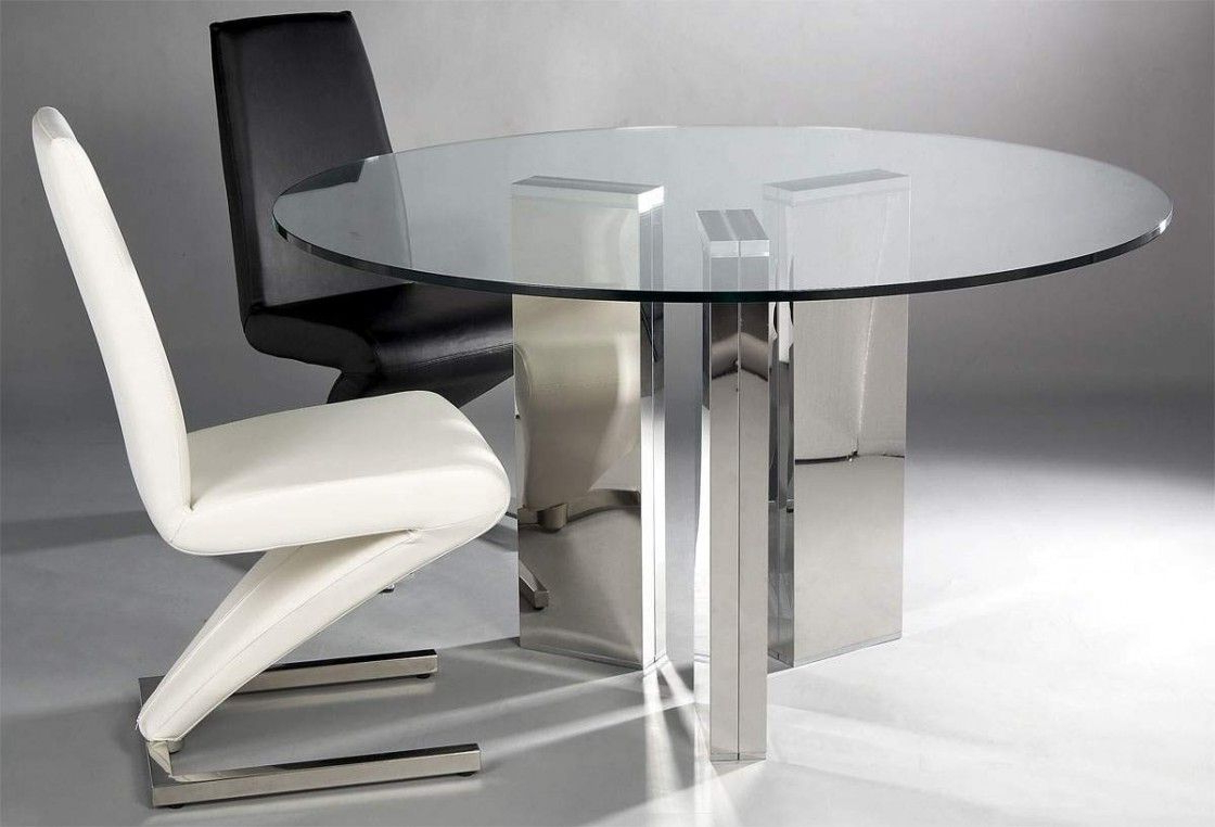 Glass Dining Tables With Metal Legs With Regard To Trendy Gorgeous Round Transparent Glass Dining Table With Three (View 9 of 30)