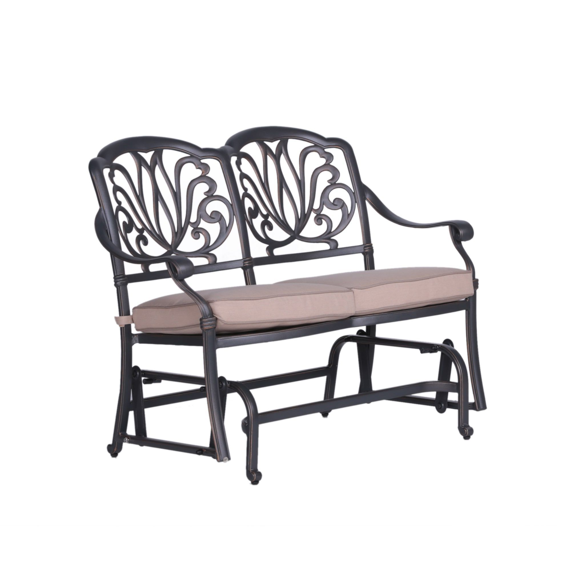 Glider Benches With Cushions Regarding 2019 Saratoga Aluminum (Silver) Cushioned Bench Glider (Gray (View 14 of 30)