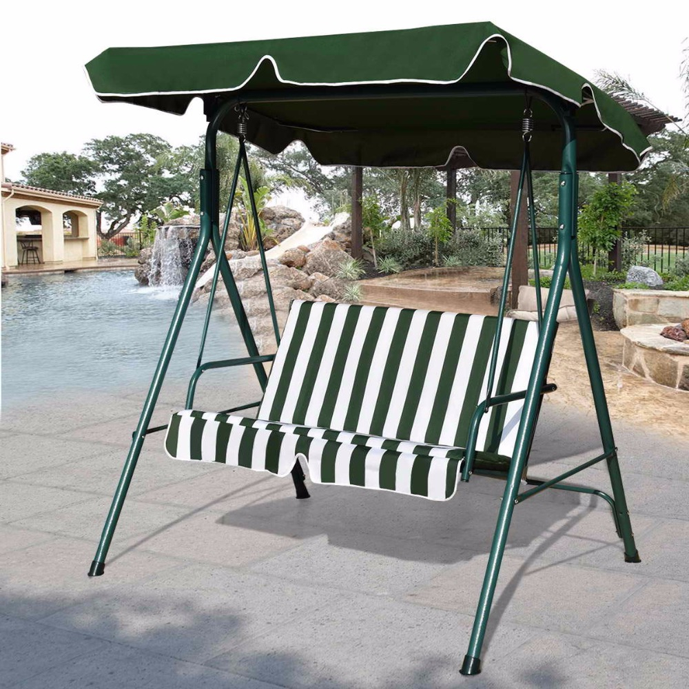 Goplus Loveseat Patio Canopy Swing Glider Hammock Cushioned Regarding Popular Garden Leisure Outdoor Hammock Patio Canopy Rocking Chairs (View 8 of 30)