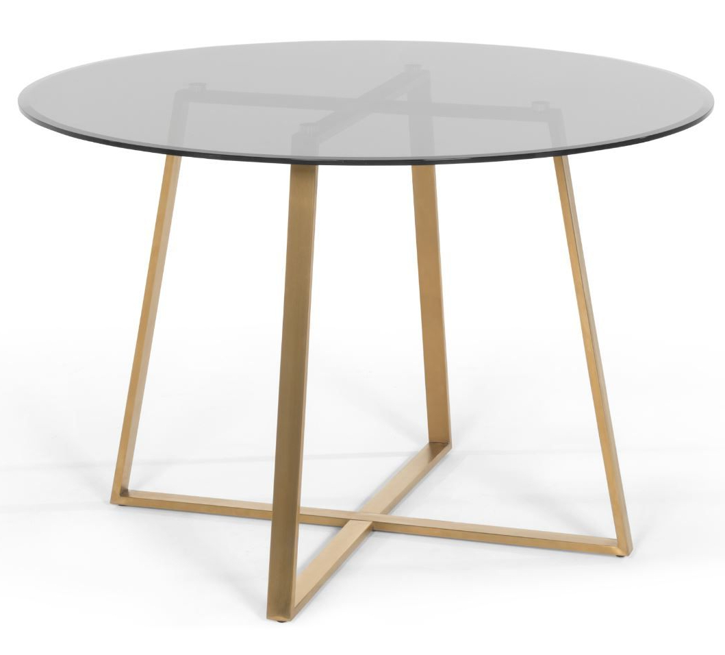 Haku Round Large Dining Table, Brass And Smoked Glass Throughout Preferred Glass Dining Tables With Metal Legs (View 19 of 30)
