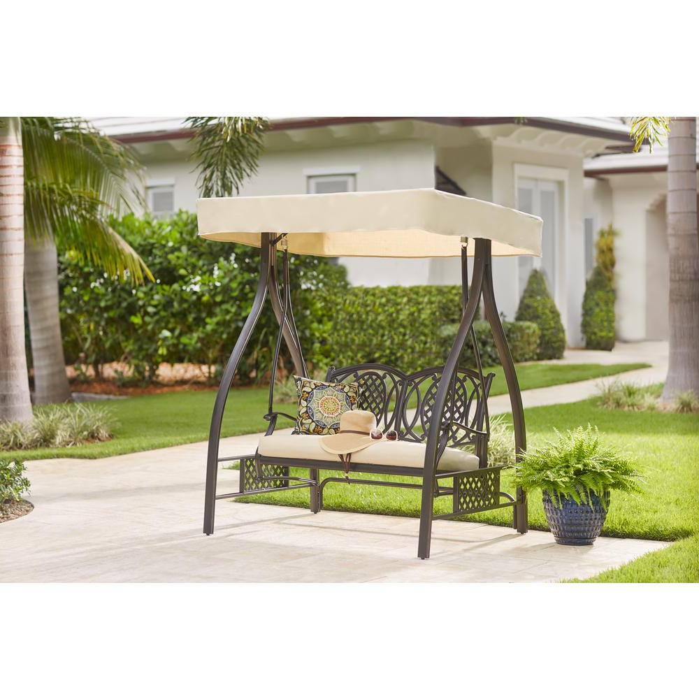 Hampton Bay Belcourt Metal Outdoor Swing With Stand And Canopy With Cushionguard Oatmeal Cushion With Well Liked Porch Swings With Stand (View 11 of 30)