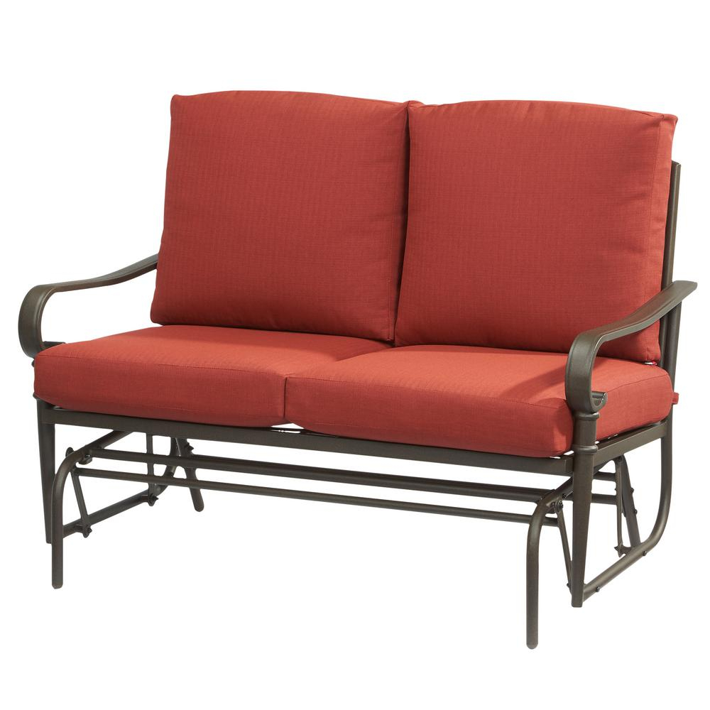 Hampton Bay Oak Cliff Metal Outdoor Glider With Chili Cushions Pertaining To Most Current Outdoor Loveseat Gliders With Cushion (View 18 of 30)