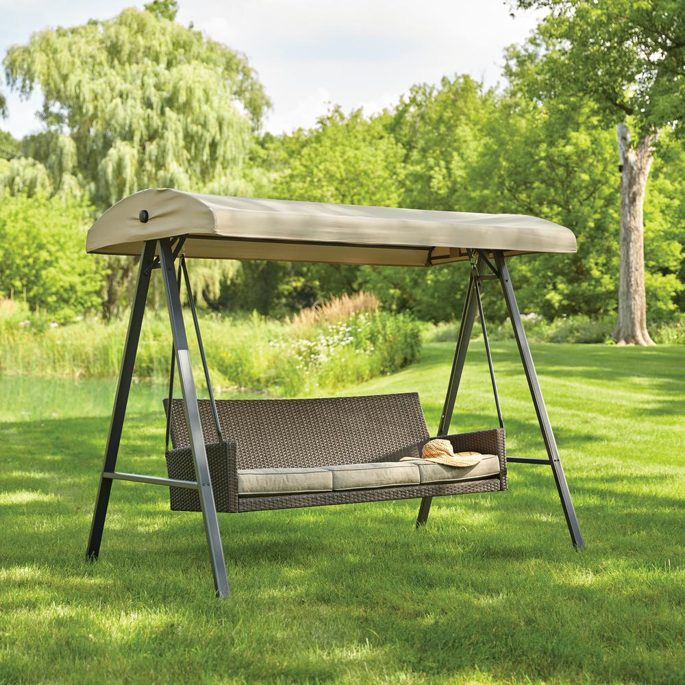 Hampton Bay Plaistow 3 Person Wicker Outdoor Swing With Canopy Inside Famous 3 Person Light Teak Oil Wood Outdoor Swings (View 10 of 30)