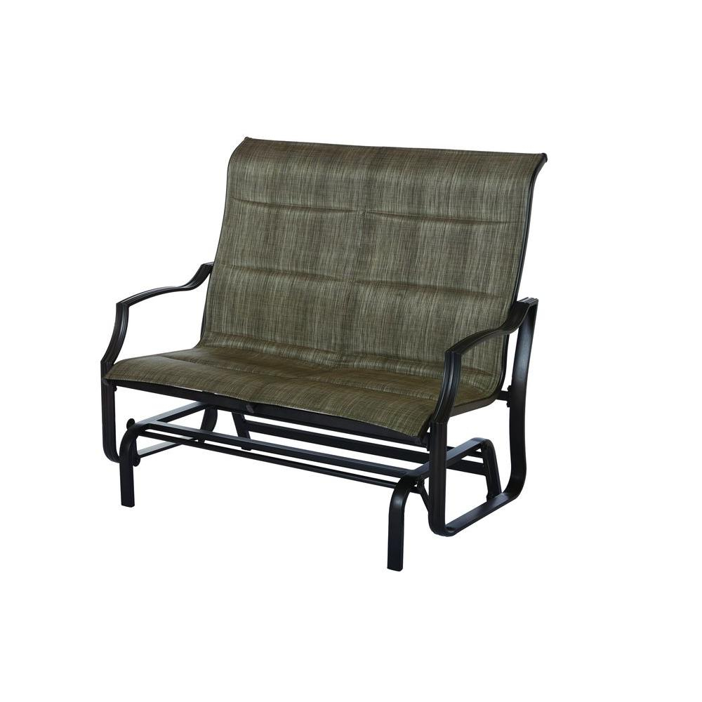 Hampton Bay Statesville Metal Patio Outdoor Double Glider Within Popular Double Glider Benches With Cushion (View 20 of 30)