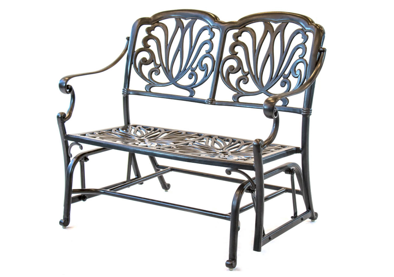 Hanamint – Biscayne – Aluminum – Glider Cushion Bench Within Famous Aluminum Glider Benches With Cushion (View 16 of 30)