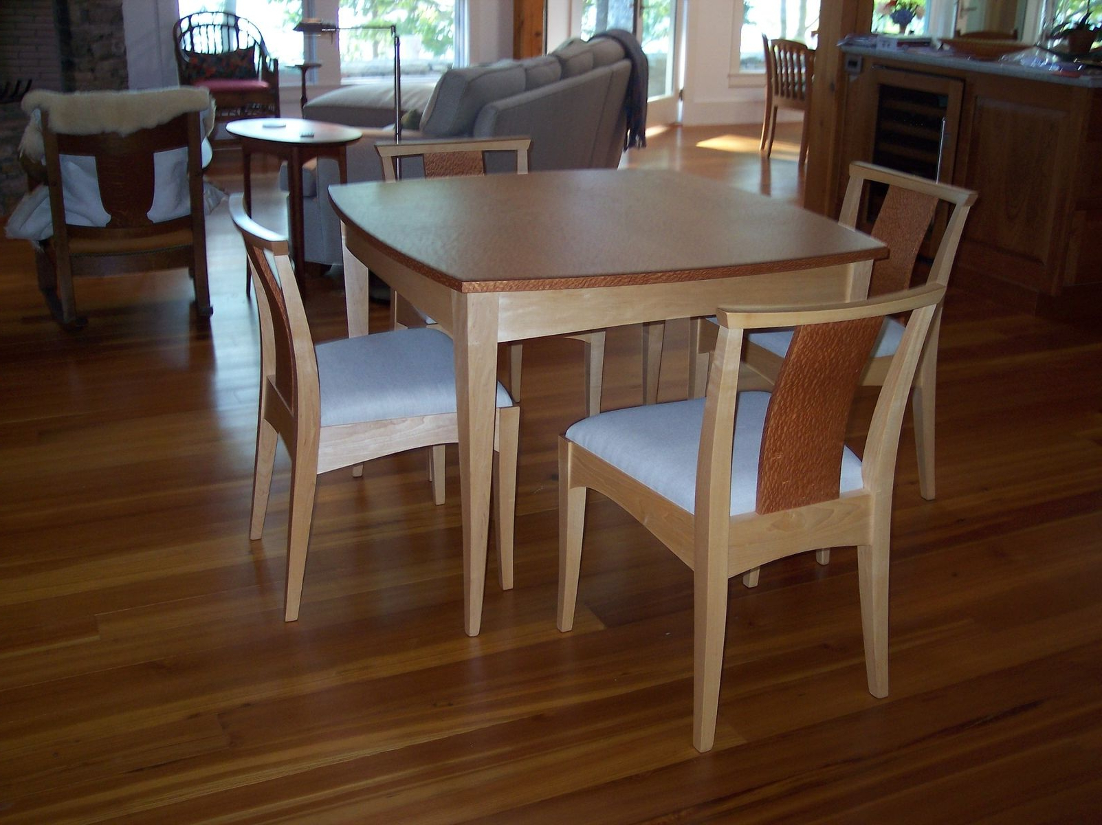 Hand Made Curvy, Square Small Dining Table And Chairs In Most Current Small Rustic Look Dining Tables (View 26 of 30)
