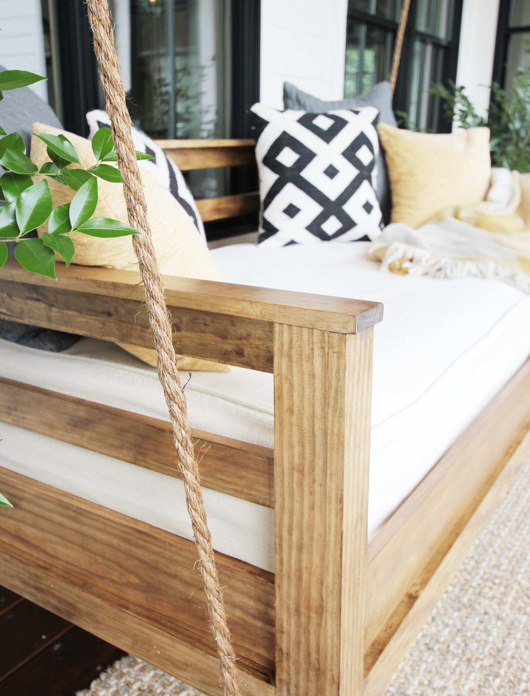 Hanging Daybed Rope Porch Swings Throughout Fashionable How To Build A Porch Swing Bed – Plank And Pillow (View 16 of 30)