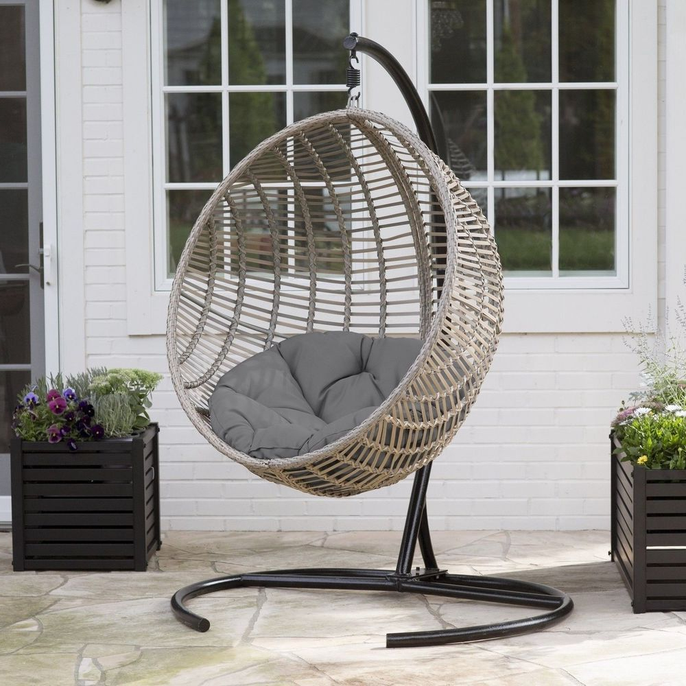 Hanging Egg Chair Swing Resin Wicker Patio Outdoor Home Pertaining To Latest Outdoor Wicker Plastic Tear Porch Swings With Stand (View 14 of 30)