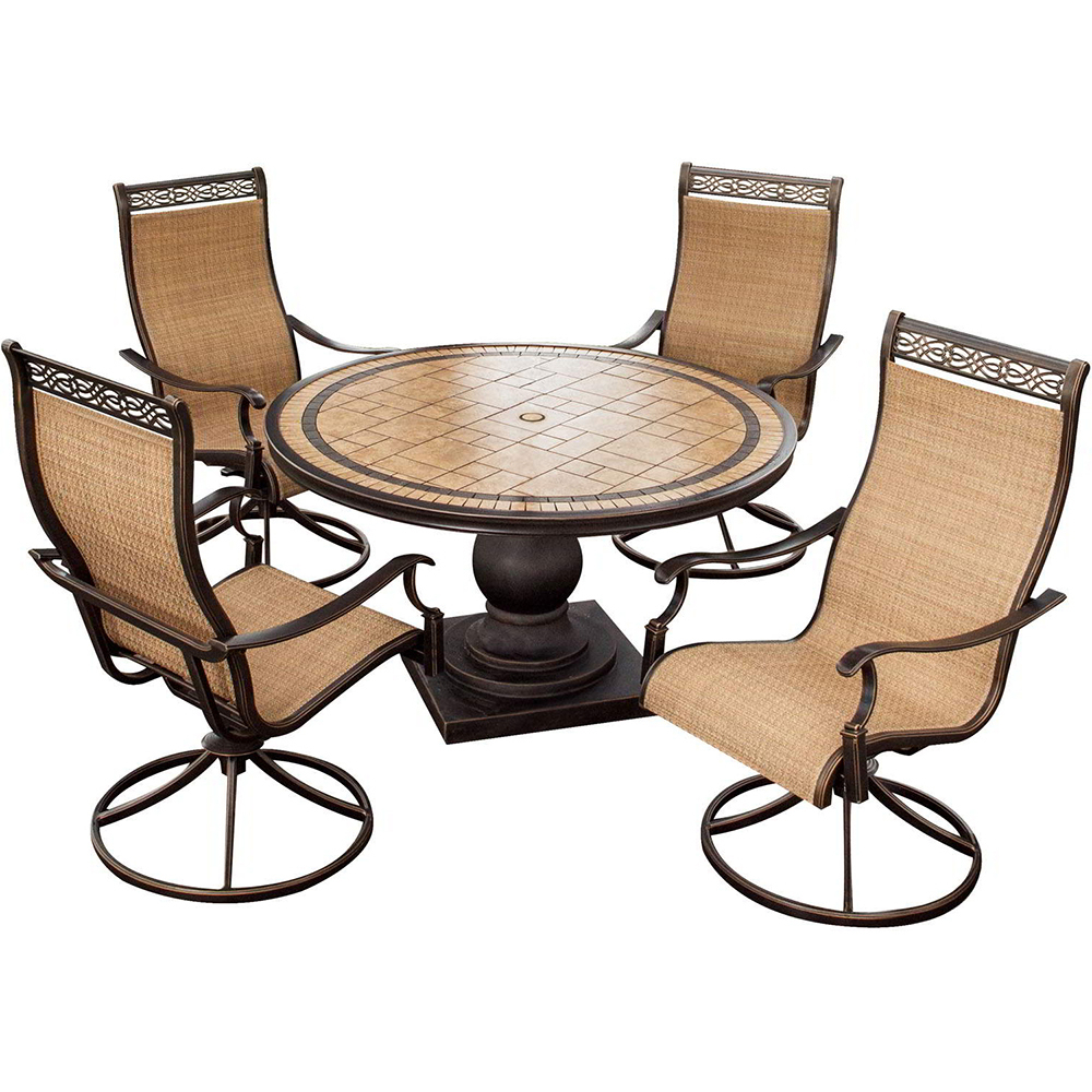 Hanover Monaco 5 Piece High Back Sling Swivel Rocker Outdoor Dining Set – Monaco5pcsw For 2019 Sling High Back Swivel Chairs (View 27 of 30)