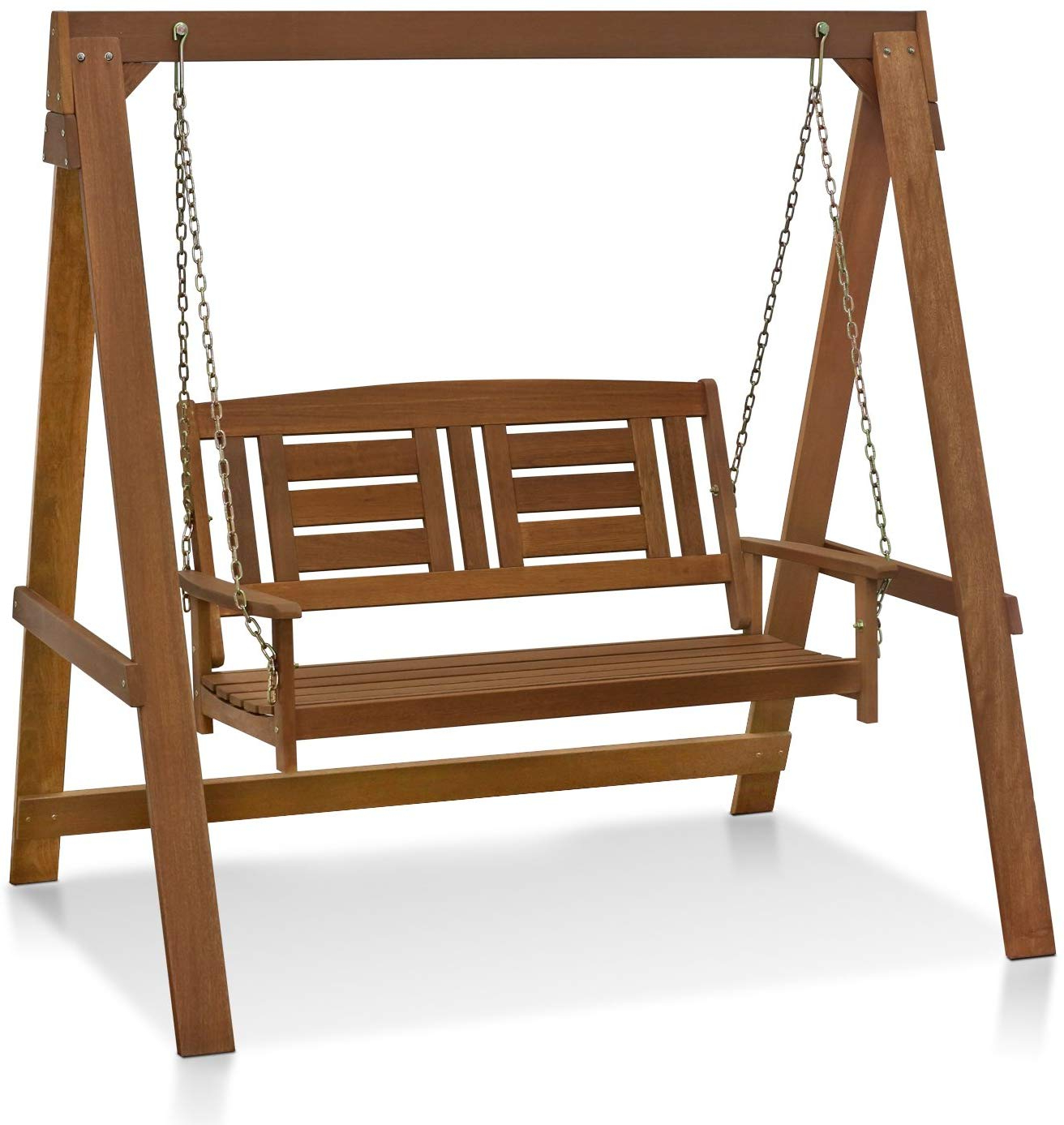 Hardwood Hanging Porch Swings With Stand Regarding Famous Furinno Fg16409 Tioman Hardwood Patio Furniture Porch Swing With Stand In  Teak Oil, 2 Seater With Frame, Natural (View 12 of 30)