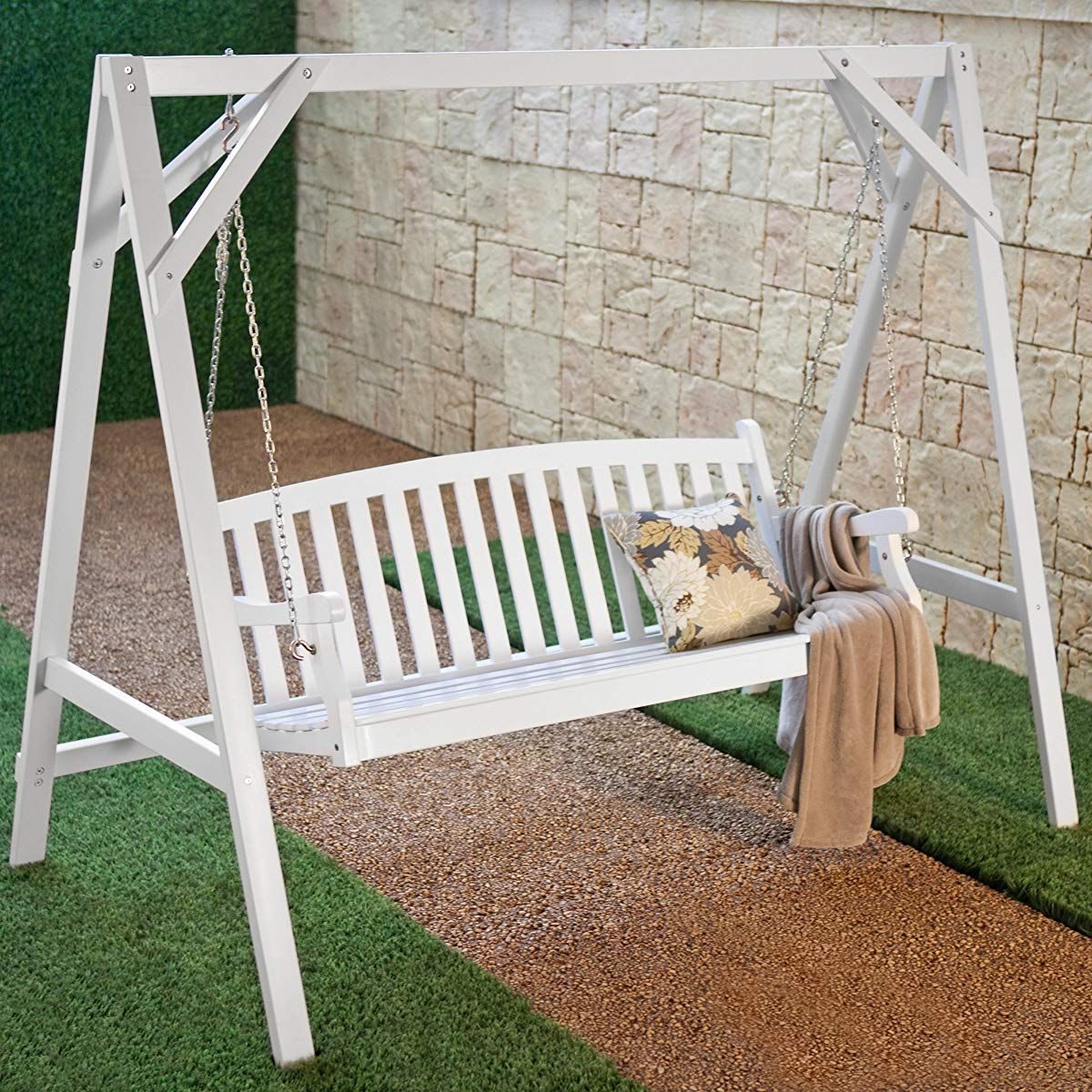 Hardwood Hanging Porch Swings With Stand Regarding Favorite Pin On Porch Swing (View 13 of 30)