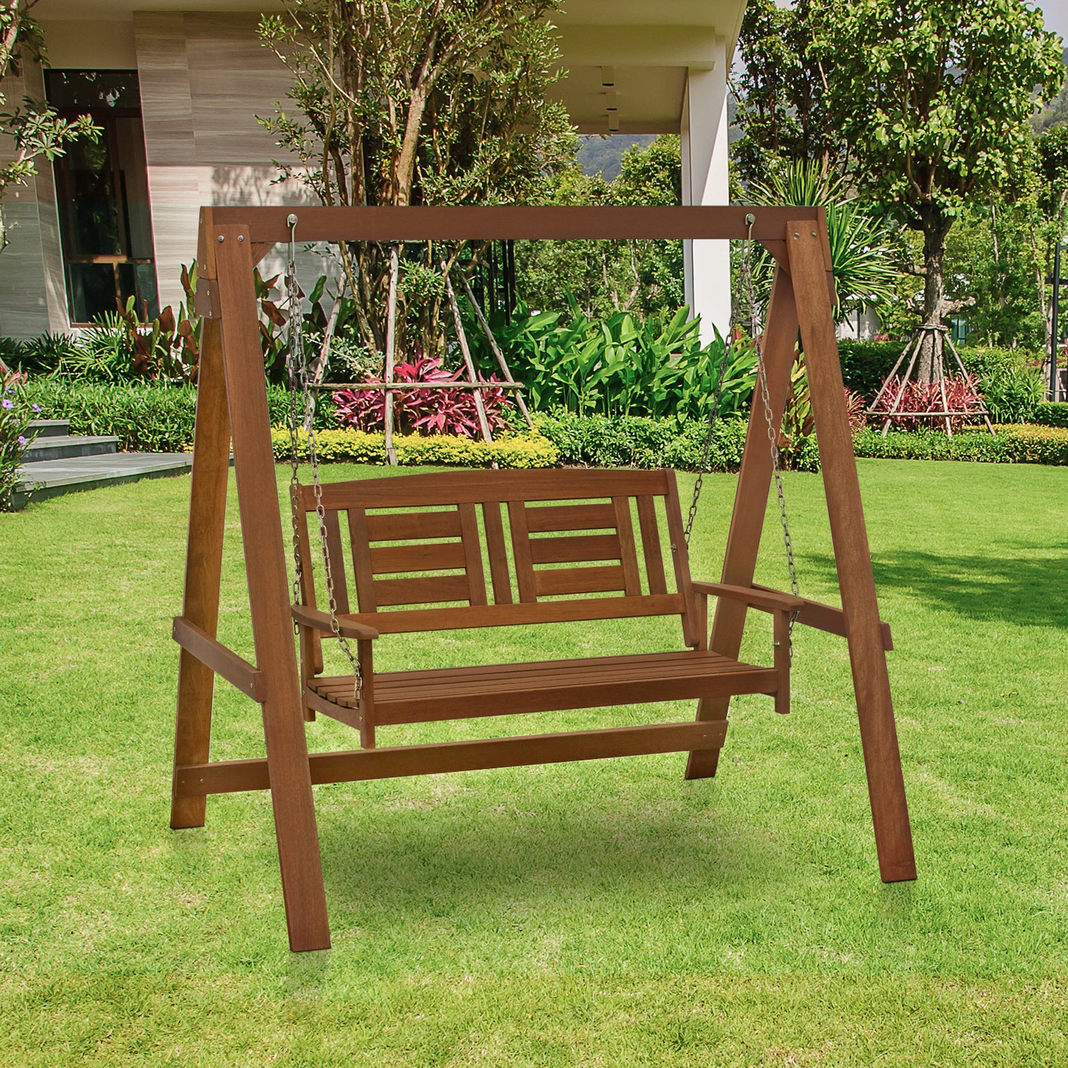 Hardwood Hanging Porch Swings With Stand With Regard To Preferred Buy Wood Furinno Hammocks & Porch Swings Online At Overstock (View 16 of 30)