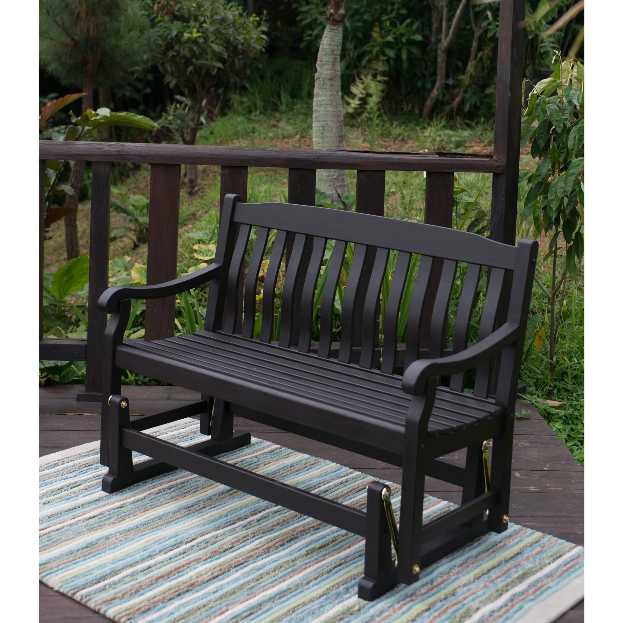Hardwood Porch Glider Benches Intended For Most Recent Better Homes & Gardens Delahey Outdoor Glider Bench, Dark Brown – Walmart (View 17 of 30)
