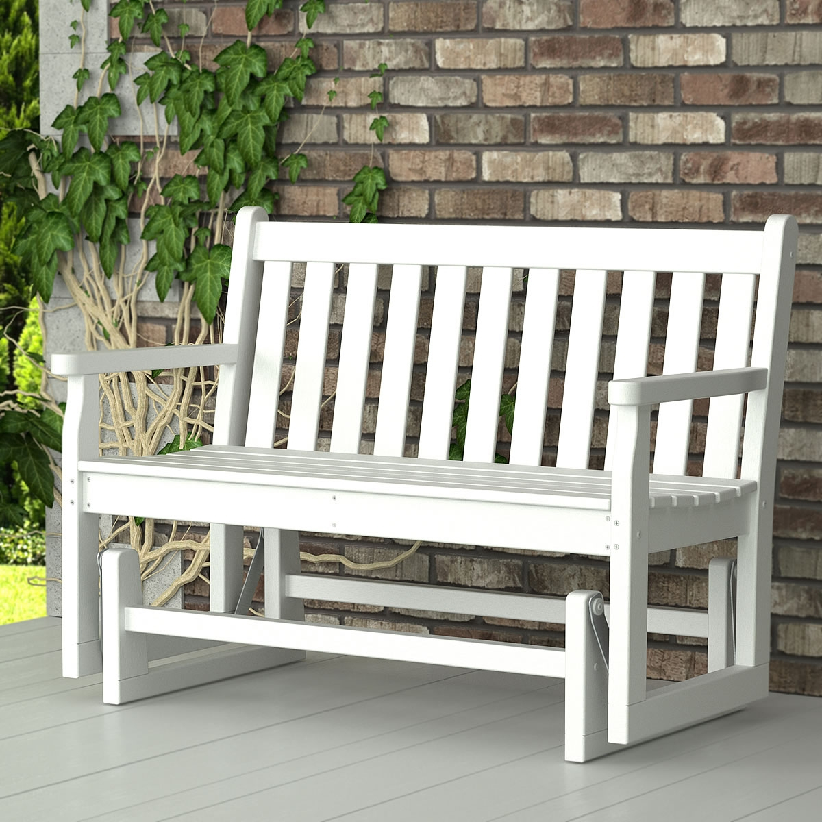 Hardwood Porch Glider Benches Regarding Most Current Furniture: White Wooden Porch Glider For Outdoor Furniture Ideas (View 13 of 30)
