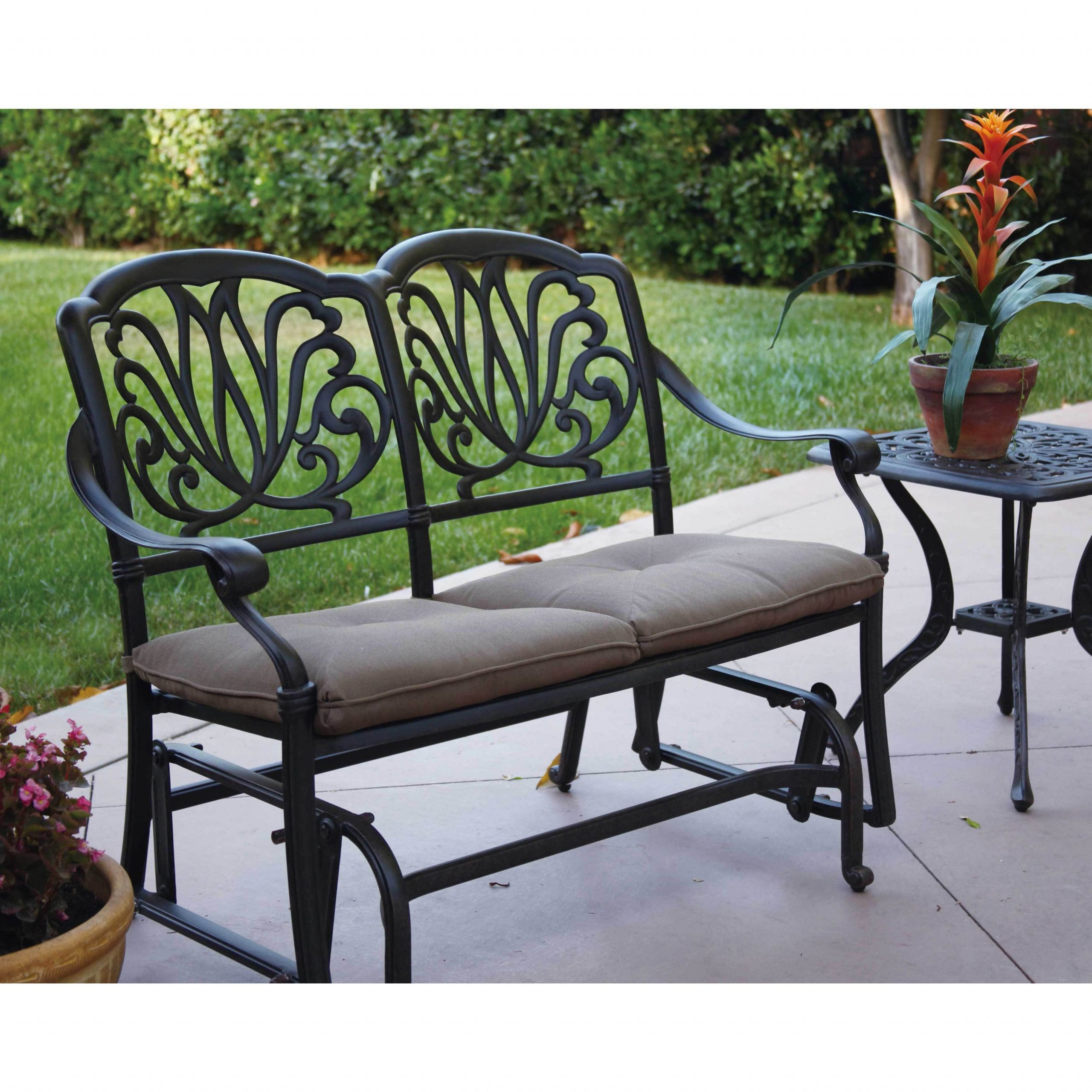 Havenside Home Avalon Cast Aluminum Glider Bench With Seat Cushion For Best And Newest Glider Benches With Cushion (View 20 of 30)