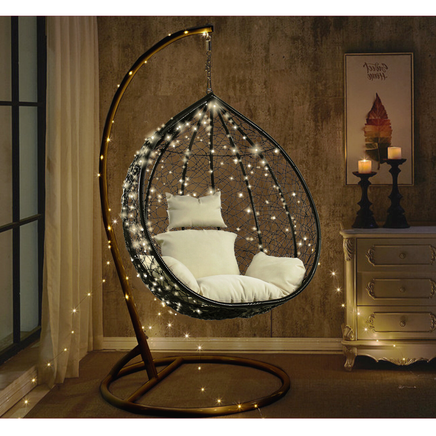 Hobbs Outdoor Wicker Plastic Tear Porch Swing With Stand Inside Most Recent Outdoor Wicker Plastic Tear Porch Swings With Stand (View 7 of 30)