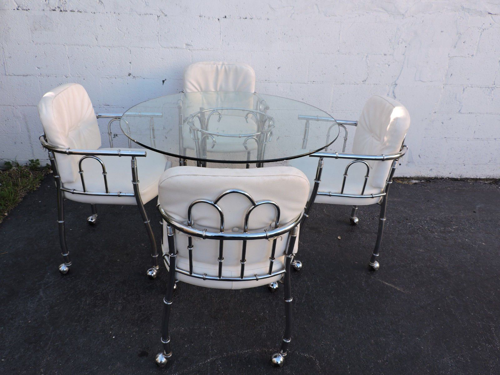 Hollywood Regency Chrome And Round Glass Top Dining Table Regarding Well Liked Retro Round Glasstop Dining Tables (View 7 of 30)