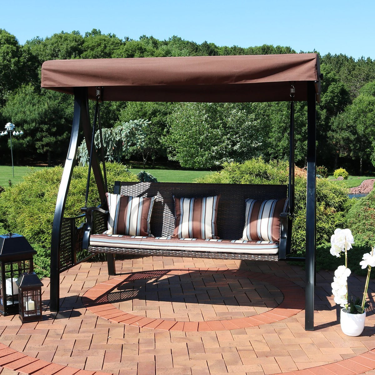 Home & Garden Patio Swing Adjustable Canopy Steel Frame Gray With Regard To Fashionable Patio Gazebo Porch Canopy Swings (View 16 of 30)