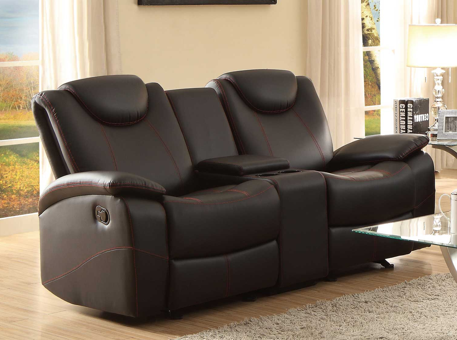 Homelegance Talbot Black Double Glider Reclining Loveseat Pertaining To Well Liked Double Glider Loveseats (View 13 of 30)