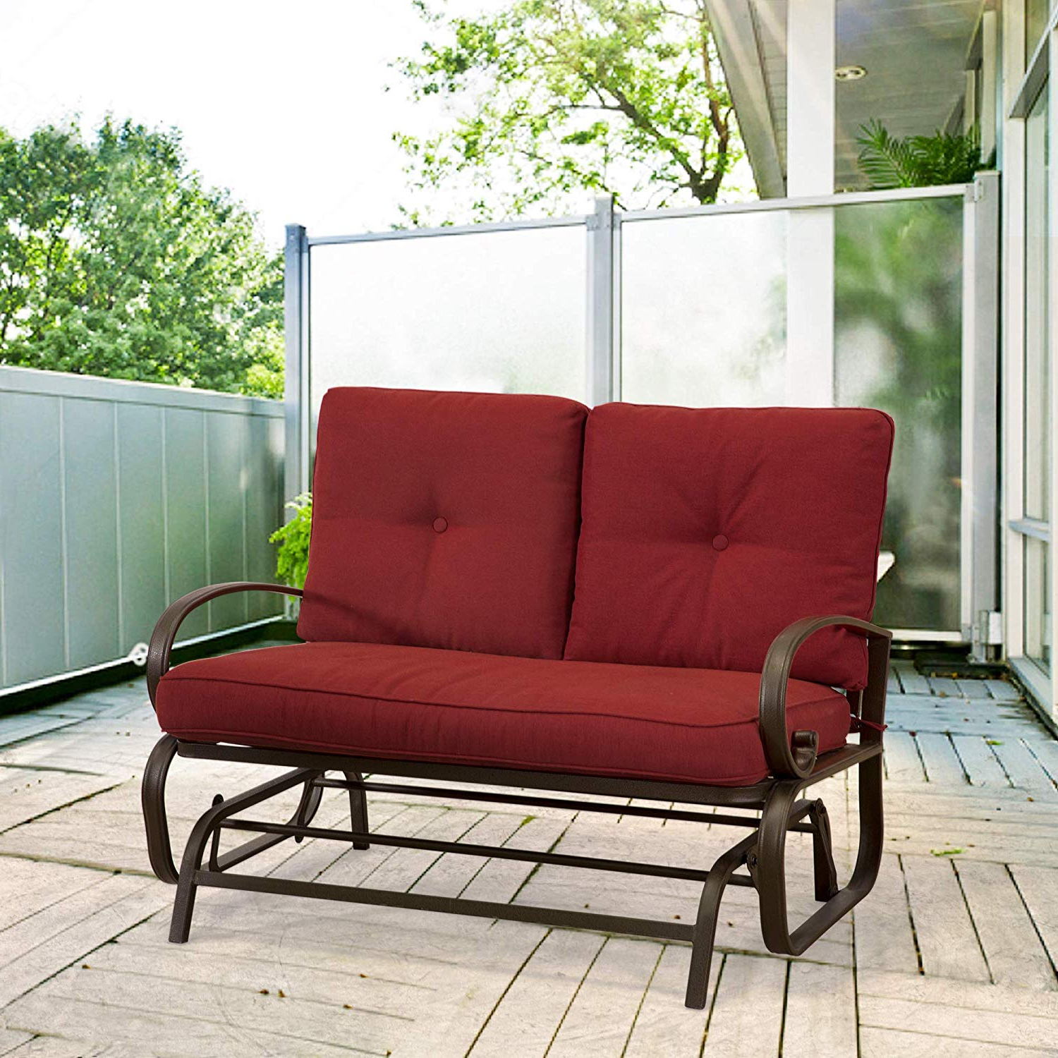 Homevibes Outdoor Glider Porch Glider Patio Bench Loveseat Furniture Rocker Wrought Iron Outside Chair Swing 2 Seats Lounge Cushions, Brick Red Regarding Well Liked Outdoor Loveseat Gliders With Cushion (View 17 of 30)