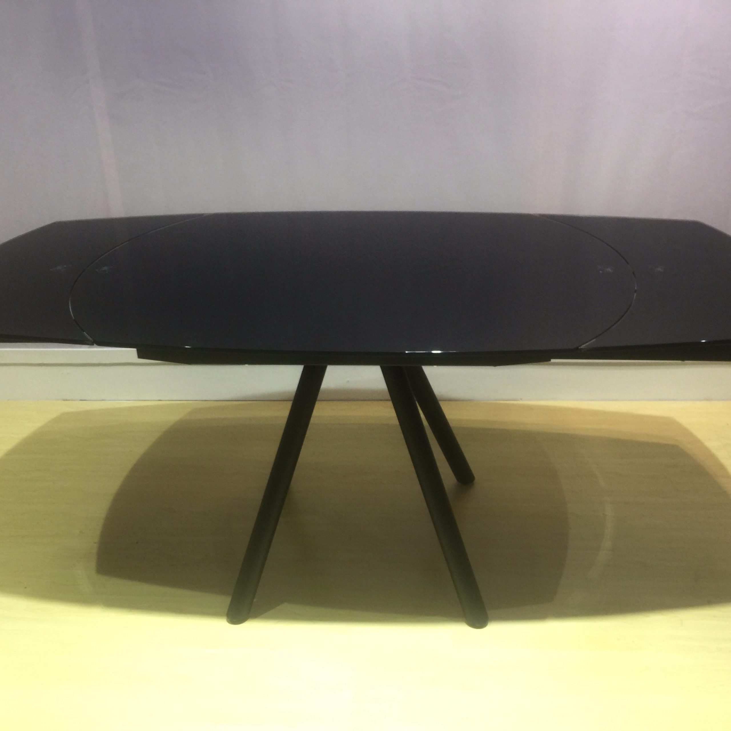 [%[Hot Item] Black Painted Tempered Glass Dining Table With Metal Legs For Rotation Table Top Pertaining To 2018 Glass Dining Tables With Metal Legs|Glass Dining Tables With Metal Legs Intended For Best And Newest [Hot Item] Black Painted Tempered Glass Dining Table With Metal Legs For Rotation Table Top|Most Recent Glass Dining Tables With Metal Legs Inside [Hot Item] Black Painted Tempered Glass Dining Table With Metal Legs For Rotation Table Top|Trendy [Hot Item] Black Painted Tempered Glass Dining Table With Metal Legs For Rotation Table Top Within Glass Dining Tables With Metal Legs%] (View 12 of 30)