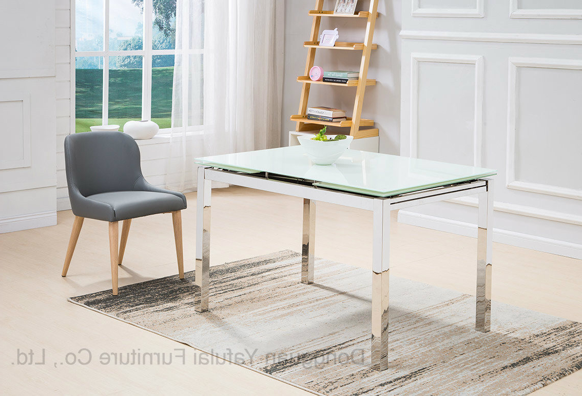 [%[Hot Item] Modern Extension White Glass Dining Table Set Stainless Steel  Furniture Intended For Latest Modern Glass Top Extension Dining Tables In Stainless Modern Glass Top Extension Dining Tables In Stainless Regarding 2018 [Hot Item] Modern Extension White Glass Dining Table Set Stainless Steel  Furniture Trendy Modern Glass Top Extension Dining Tables In Stainless Pertaining To [Hot Item] Modern Extension White Glass Dining Table Set Stainless Steel  Furniture Fashionable [Hot Item] Modern Extension White Glass Dining Table Set Stainless Steel  Furniture Pertaining To Modern Glass Top Extension Dining Tables In Stainless%] (View 3 of 30)