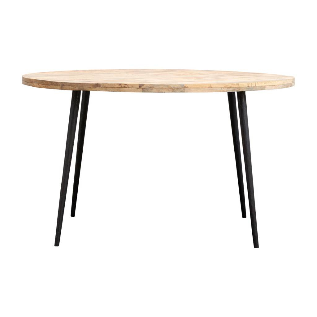 House Doctor Club Round Dining Table Wood Iron Pertaining To Widely Used Iron Dining Tables With Mango Wood (View 10 of 30)