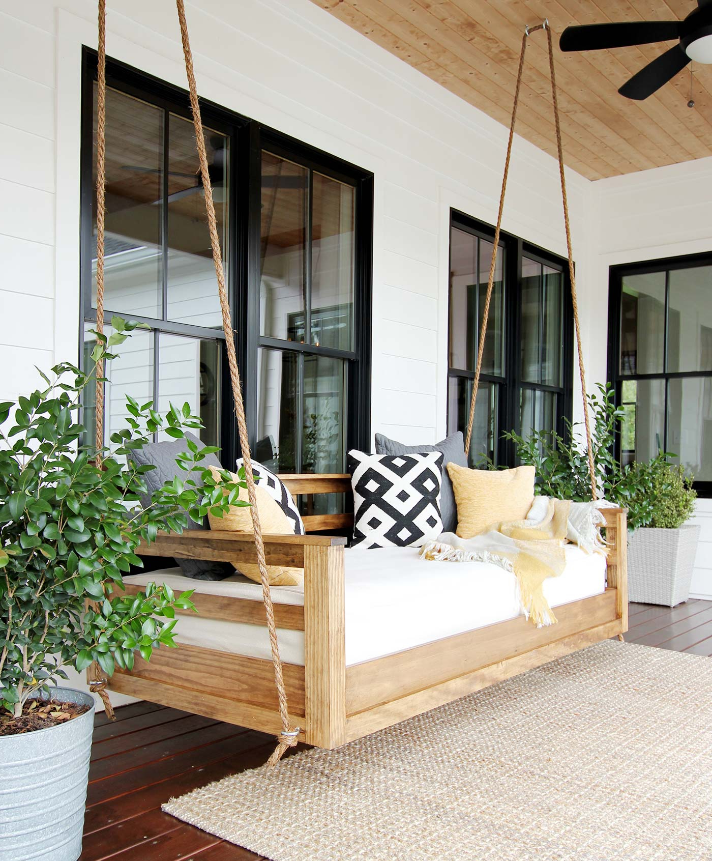 How To Build A Porch Swing Bed – Plank And Pillow Throughout Favorite Hanging Daybed Rope Porch Swings (View 19 of 30)