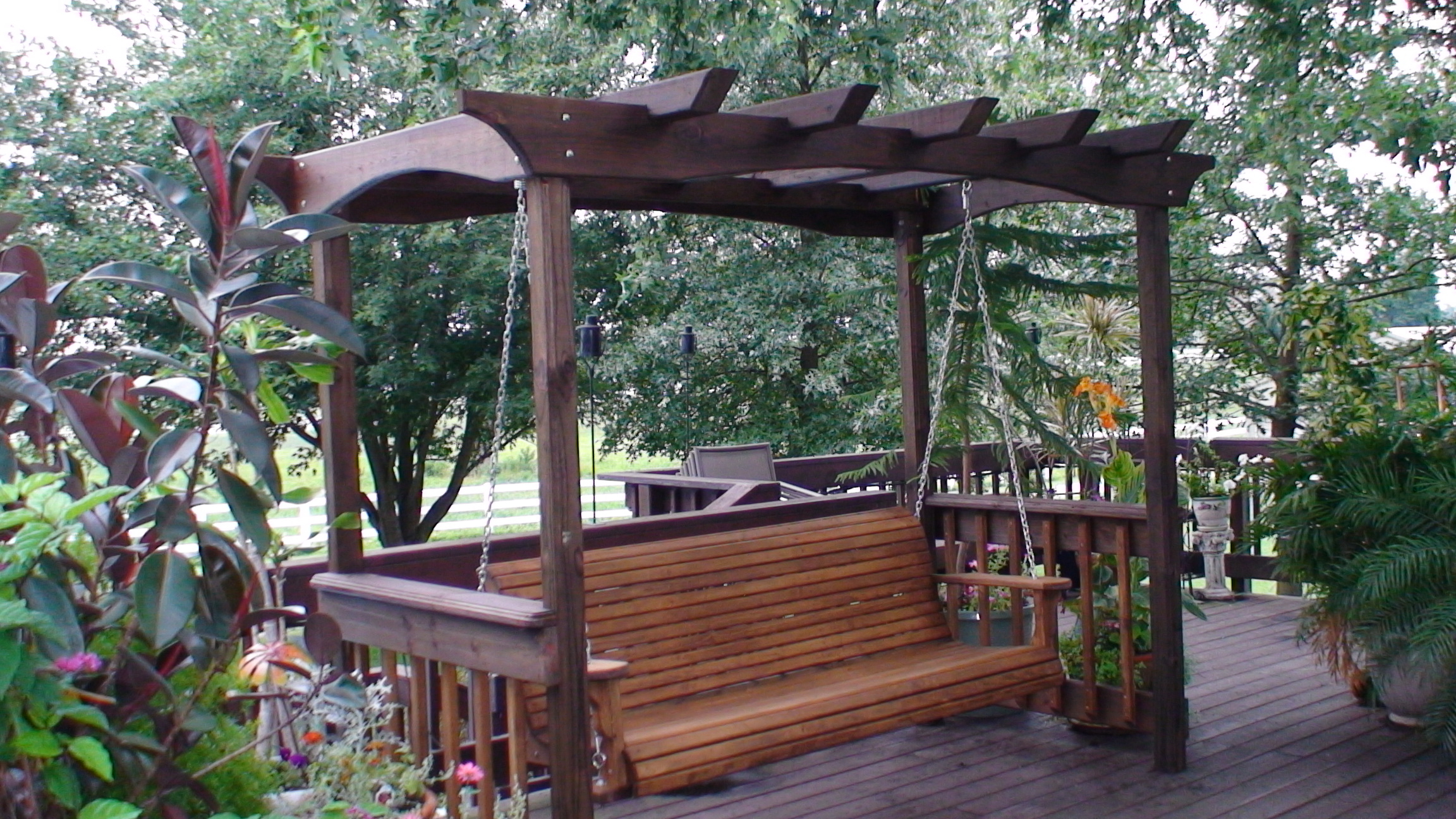 Inspirations: Enjoy Your All Day With Cozy Wooden Porch With Most Recent Canopy Patio Porch Swing With Stand (View 30 of 30)
