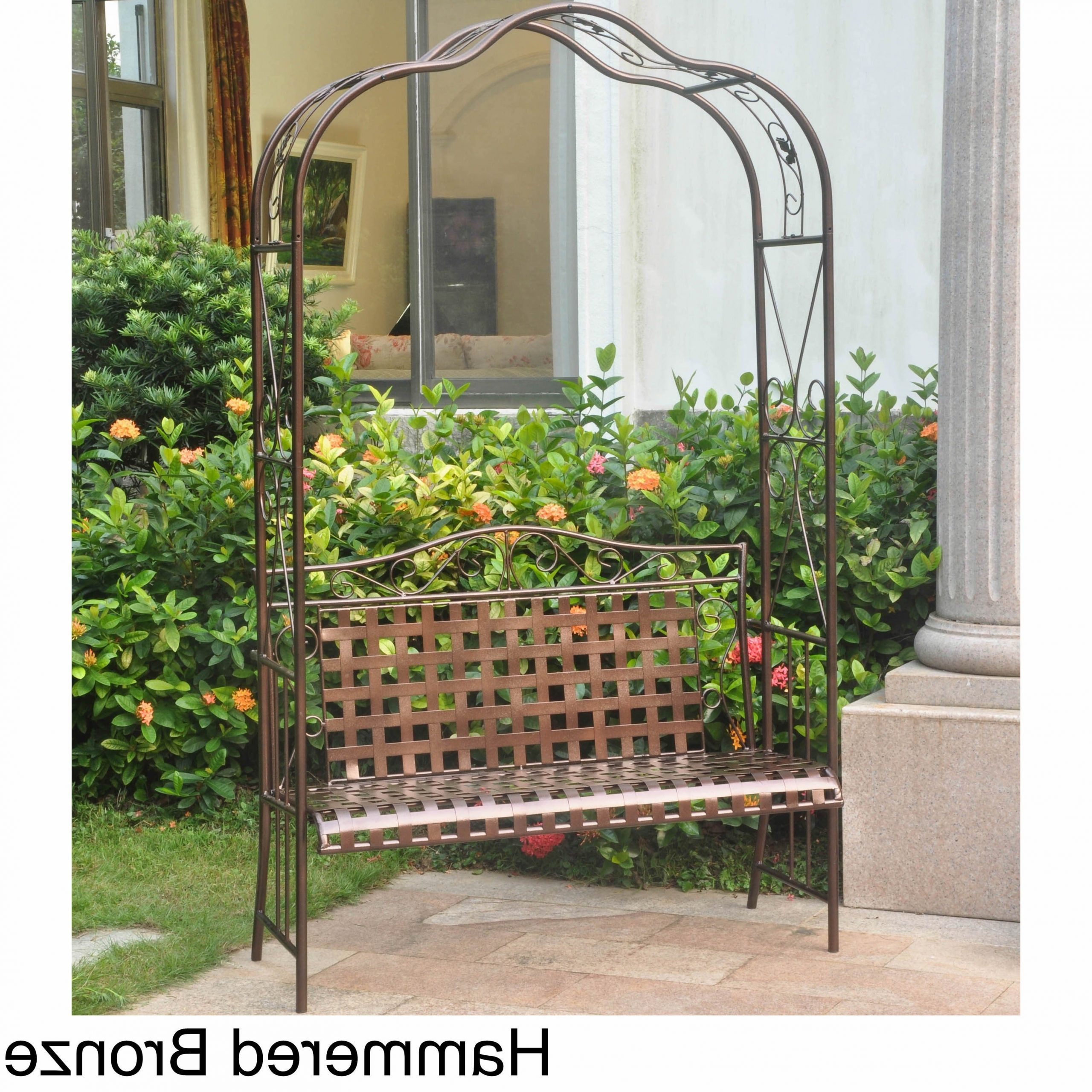 International Caravan Mandalay Iron Arbor Bench Pertaining To Well Known 2 Person Hammered Bronze Iron Outdoor Swings (View 30 of 30)