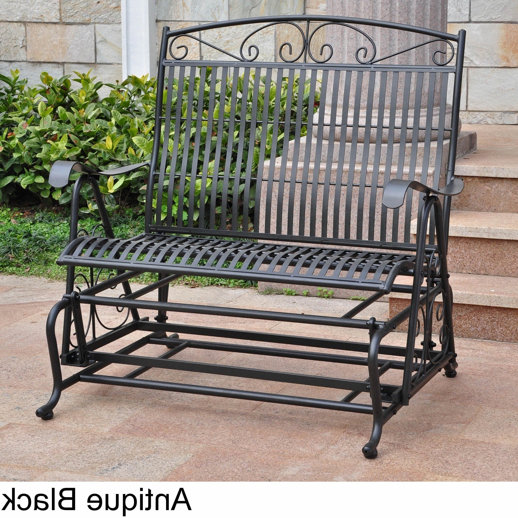 International Caravan Mandalay Iron Double Glider Bench Seat Inside Fashionable 1 Person Antique Black Steel Outdoor Gliders (View 3 of 30)