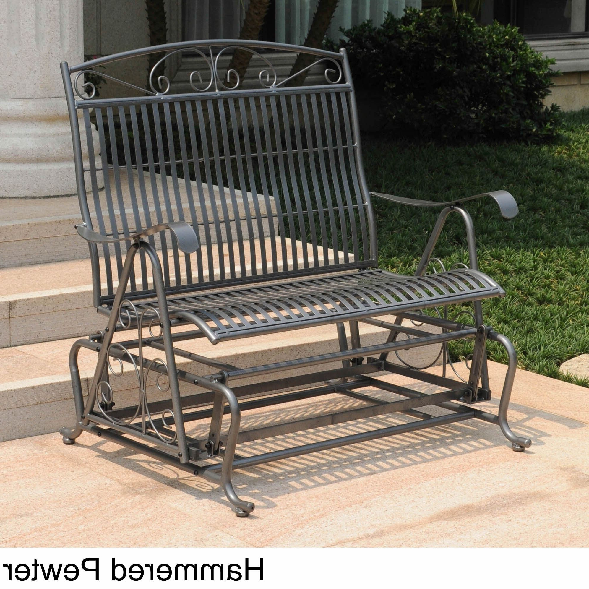 International Caravan Mandalay Iron Double Glider Bench Seat With Regard To Well Liked Iron Double Patio Glider Benches (View 6 of 30)