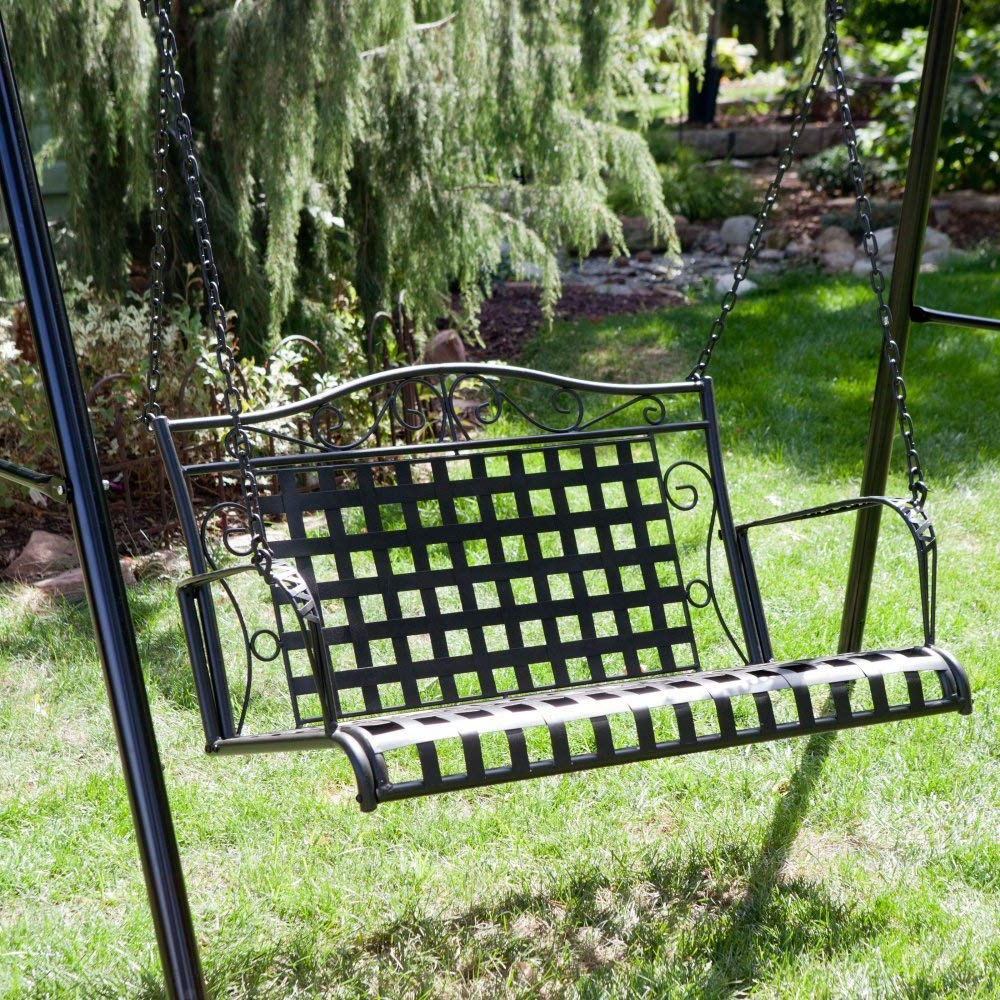 International Caravan Mandalay Iron Patio Porch Swing In Antique Black Throughout Well Liked 2 Person Hammered Bronze Iron Outdoor Swings (View 16 of 30)