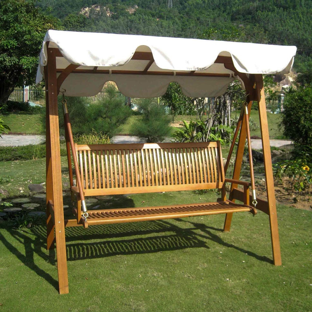 International Caravan Royal Tahiti 3 Seater Garden Swing With Canopy Pertaining To Recent 3 Person Light Teak Oil Wood Outdoor Swings (View 12 of 30)