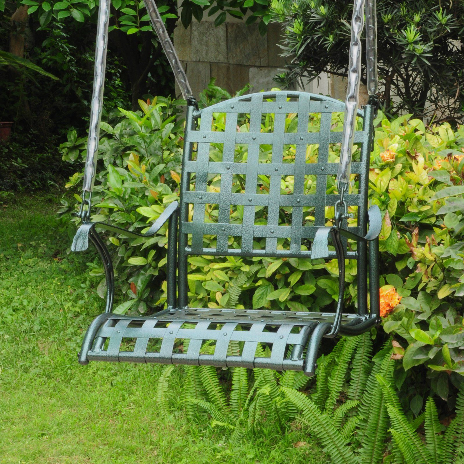 International Caravan Santa Fe Single Seat Iron Metal Patio For Famous A4 Ft Cedar Pergola Swings (View 17 of 30)