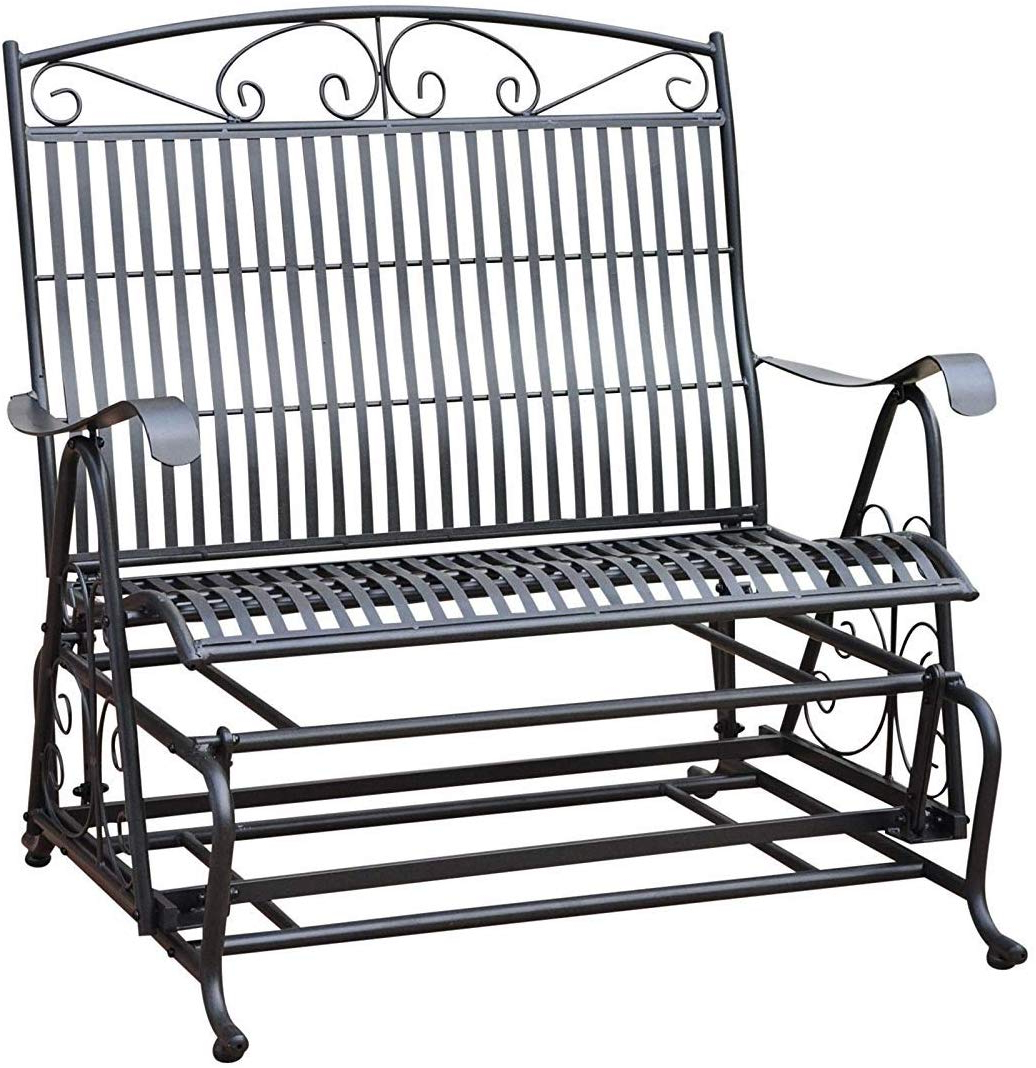 International Caravan Tropico Iron Patio Glider Loveseat In Black Regarding Best And Newest 2 Person Hammered Bronze Iron Outdoor Swings (View 6 of 30)