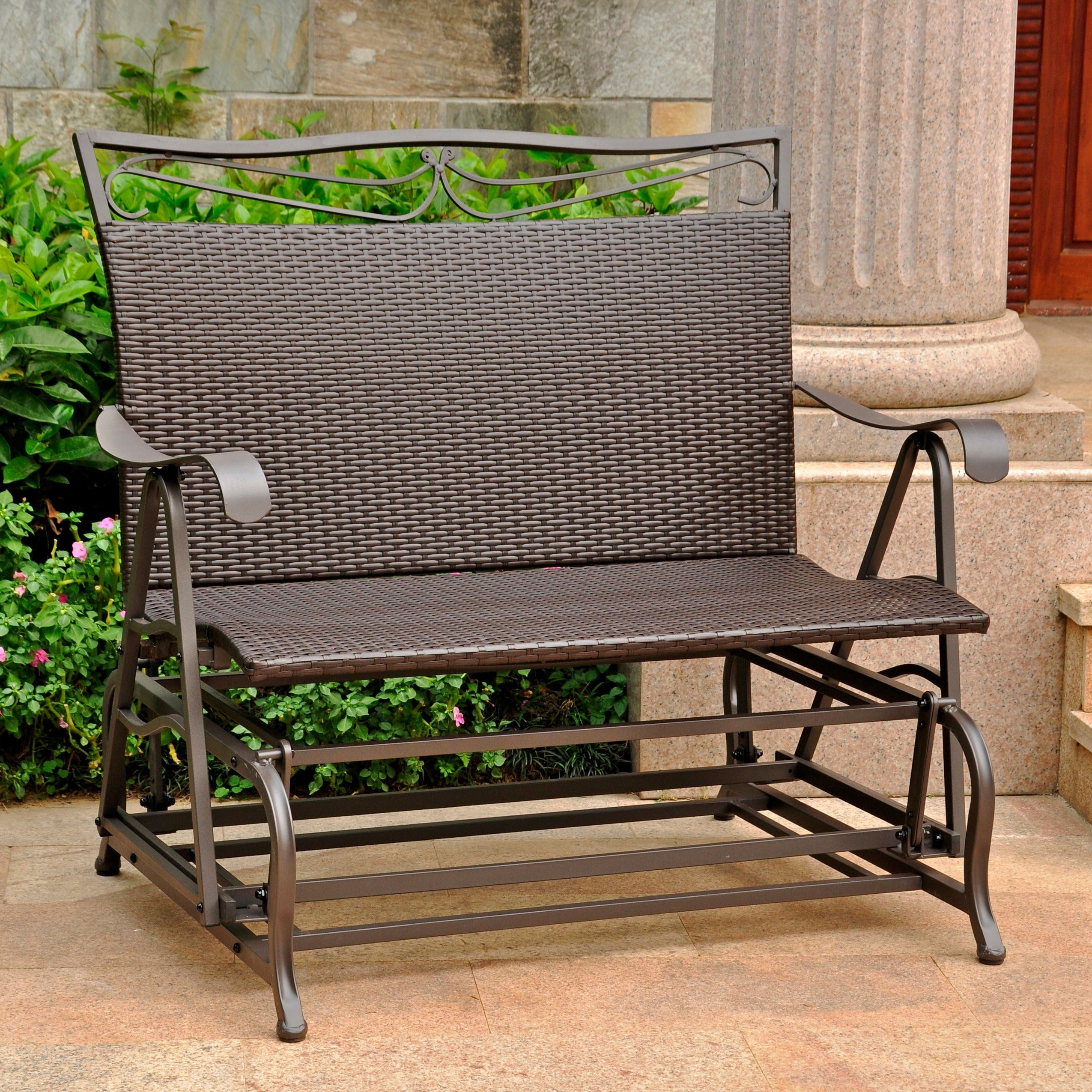 International Caravan Valencia Resin Wicker/ Steel Frame Double Glider Chair With Newest Twin Seat Glider Benches (View 9 of 31)