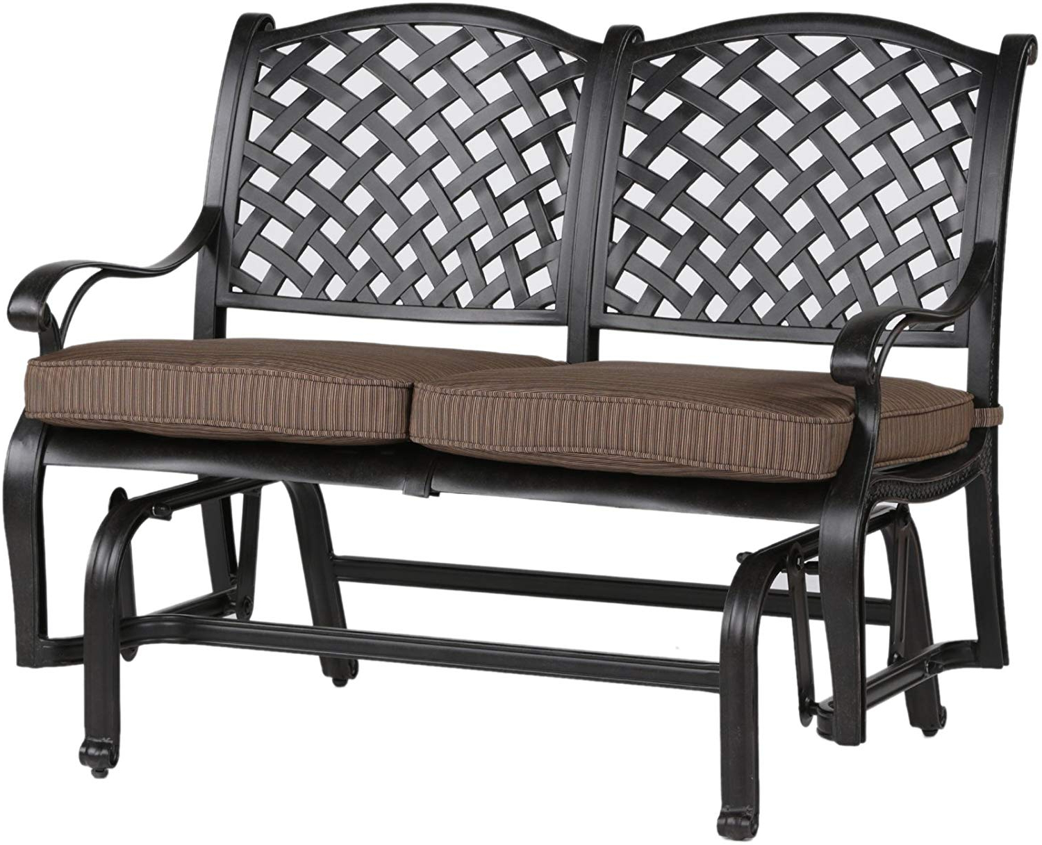 Ipatio Sparta Bench Glider With Cushion – Outdoor Metal Glider Throughout Widely Used Aluminum Glider Benches With Cushion (View 17 of 30)