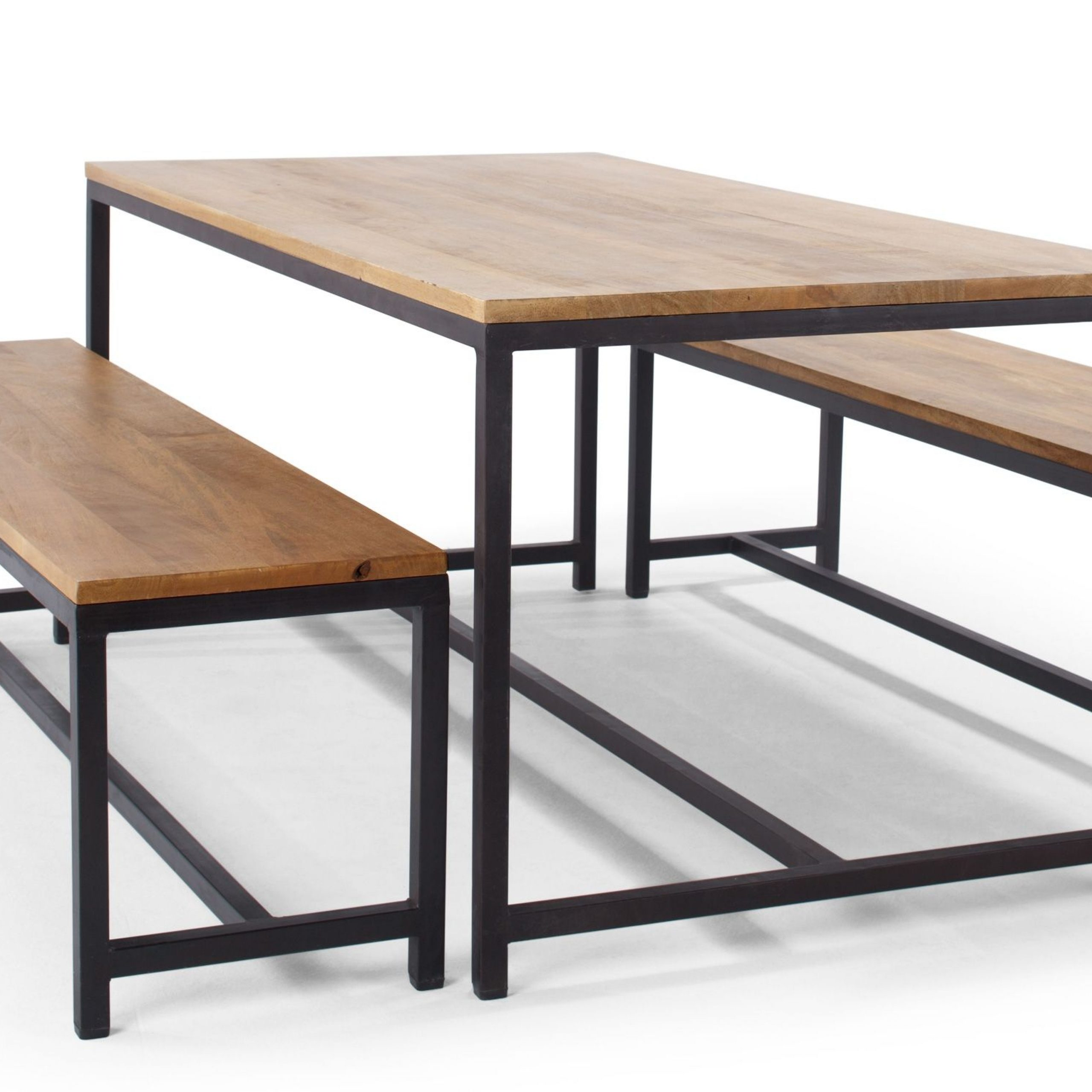 Iron Dining Tables With Mango Wood Pertaining To Most Popular Lomond Dining Set, Natural Mango Wood And Black Metal (View 13 of 30)
