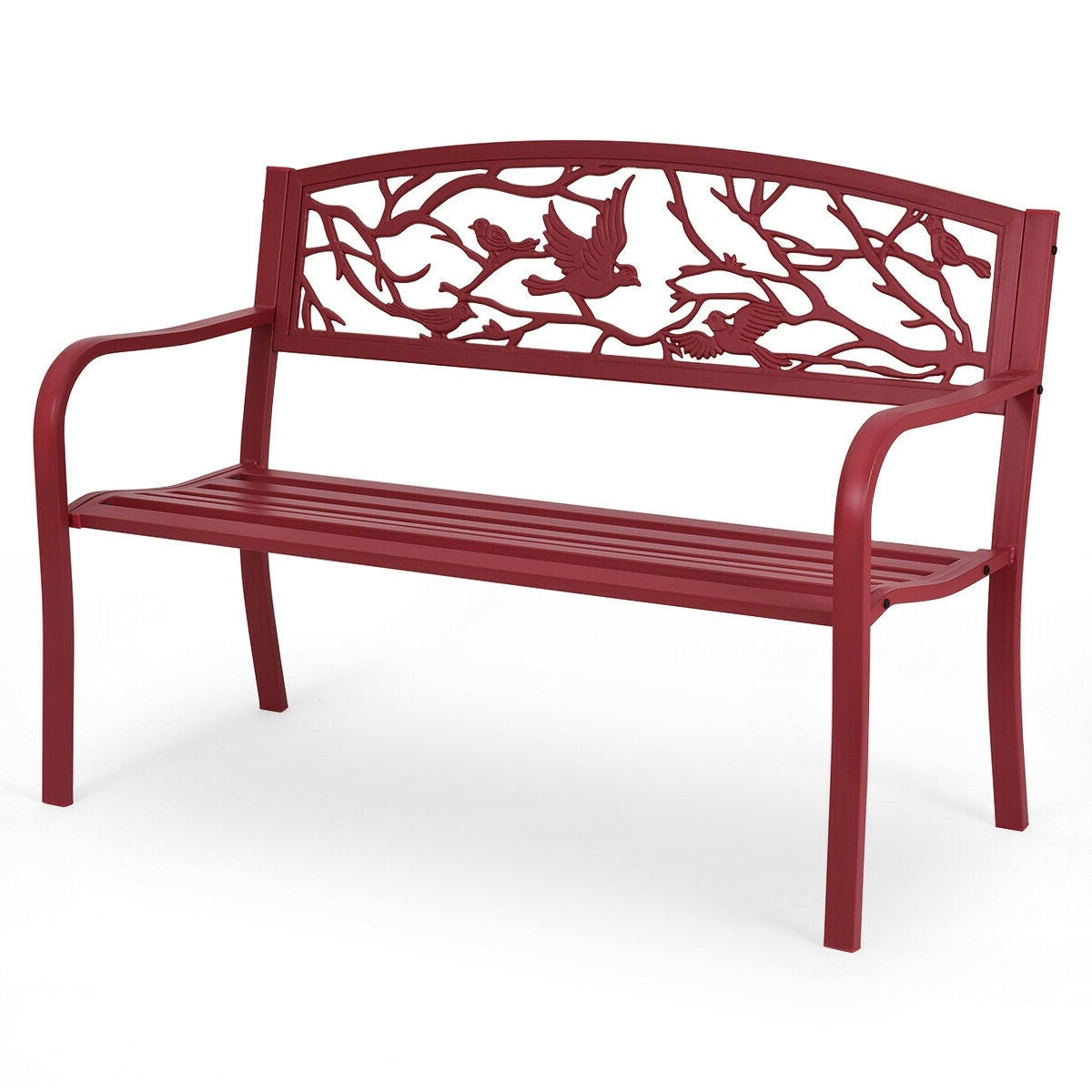 Iron Grove Slatted Glider Benches For Famous Costway Patio Garden Bench Park Yard Outdoor Furniture Cast Iron Porch Chair Red (View 24 of 30)
