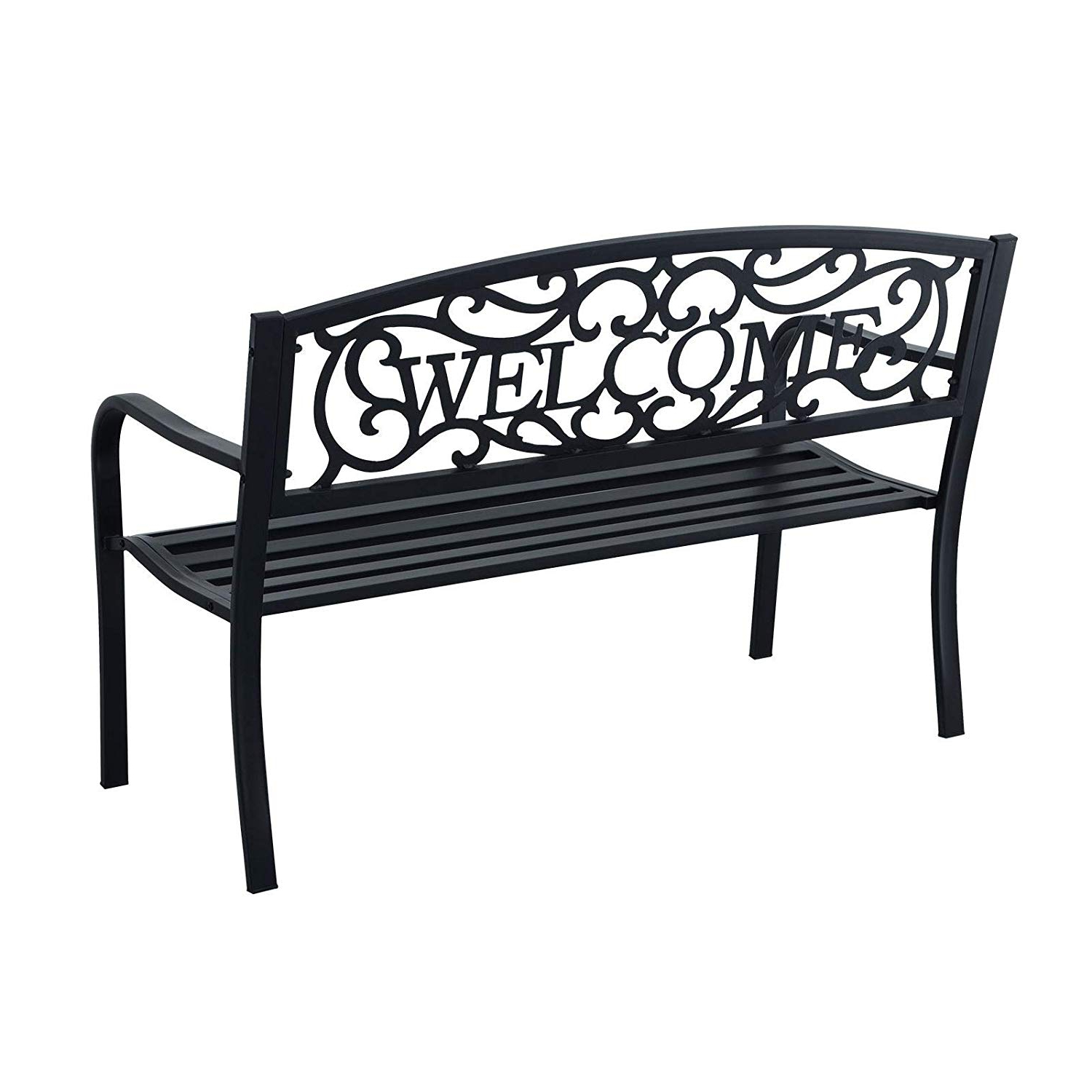 Iron Grove Slatted Glider Benches Throughout Current Azuma Welcome Bench Garden Furniture 2 Seater Outdoor Chair Seat Black Steel Seating With Message Backrest For Patio Conservatory Decking Deck Park (View 27 of 30)