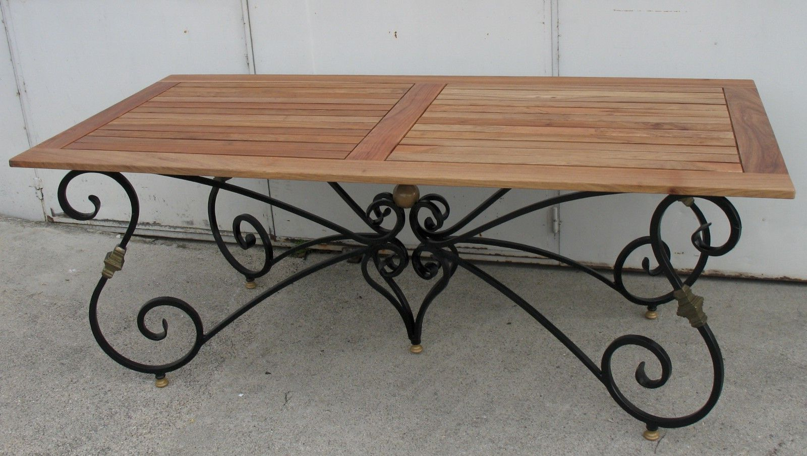 Iron Wood Dining Tables Intended For Well Liked Dining Table With Base In Black And Gold Wrought Iron With (View 3 of 30)