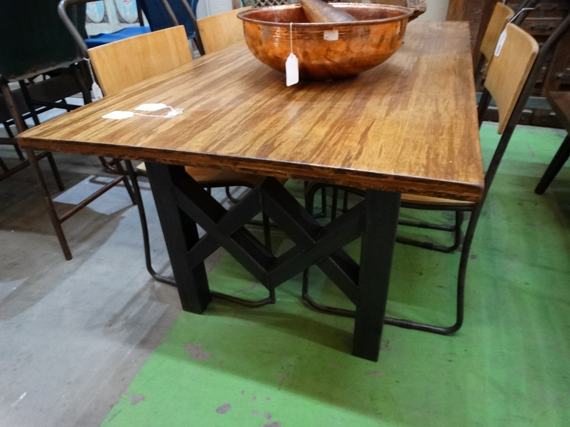 Iron Wood Dining Tables Regarding Recent Modern Rich Brown Wooden Farmhouse Dining Table (View 6 of 30)