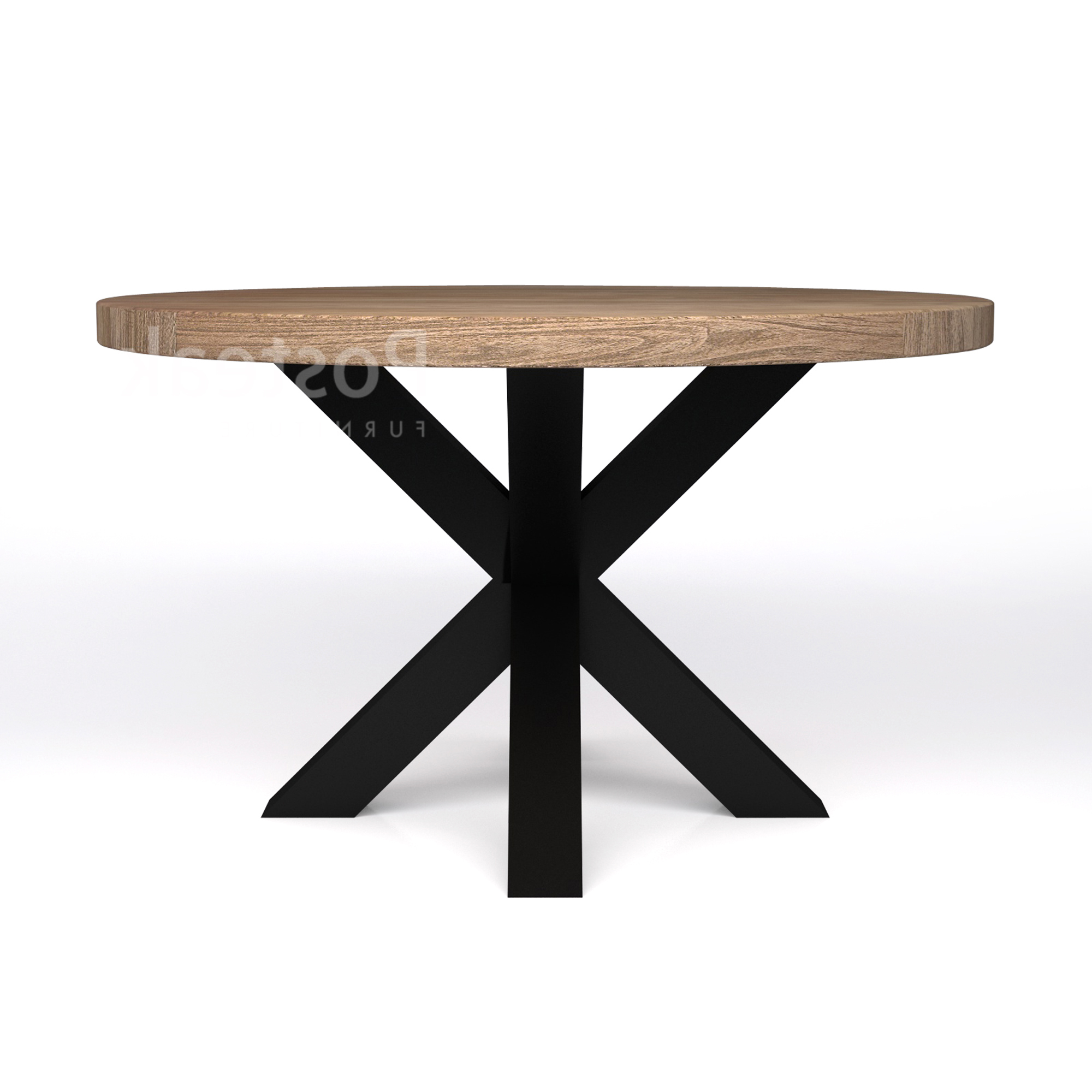 Iron Wood Dining Tables With Metal Legs Throughout Most Current Round Modern Dining Table – Iron Cross Legs (View 17 of 30)