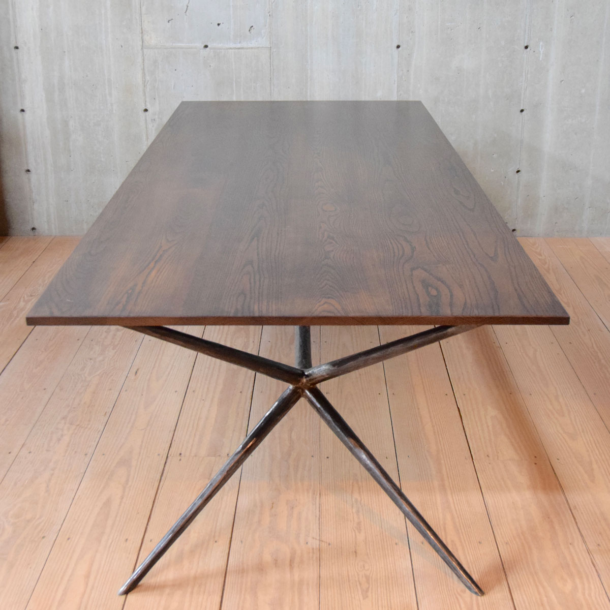 "Italian Job 96"" Dining Table, Blackened Steel, Walnut Stained Ash Top,  Chamfered Edge Regarding Most Current Dining Tables With Stained Ash Walnut (View 20 of 30)"