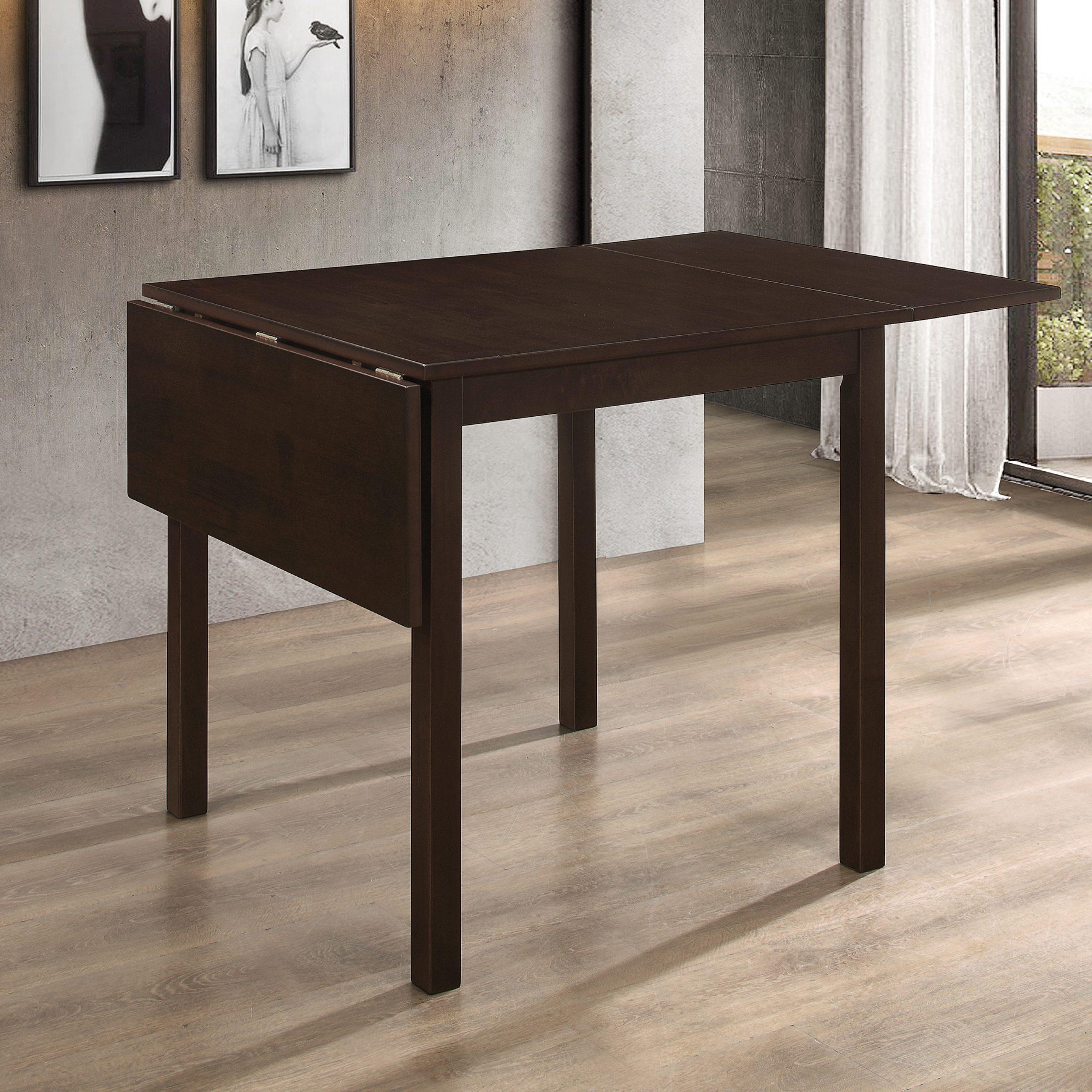 Kelso Rectangular Dining Table With Drop Leaf Cappuccino Intended For Well Known Transitional 4 Seating Drop Leaf Casual Dining Tables (View 22 of 30)