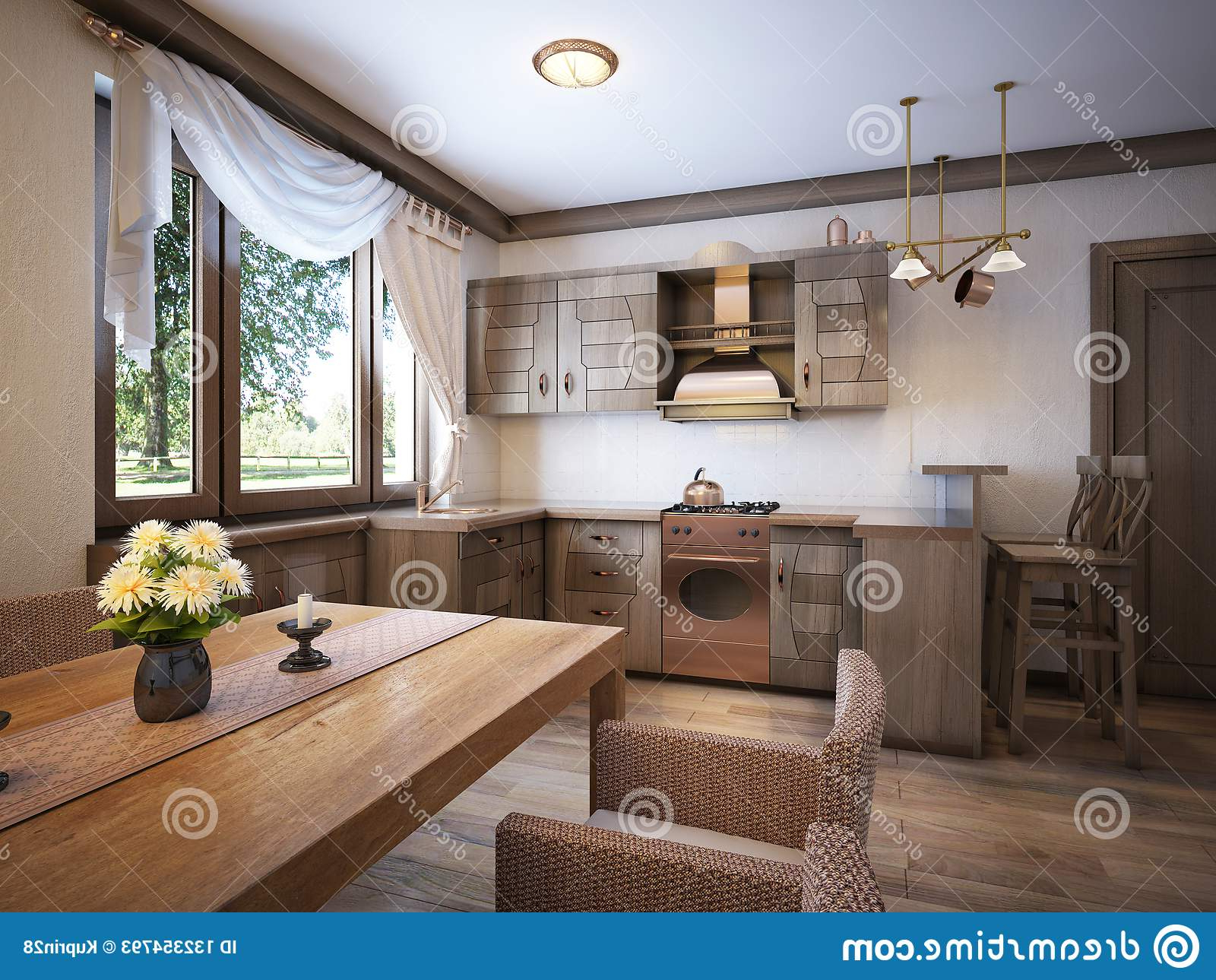 Kitchen Rustic Style With A Dining Table And Wooden Inside Most Recent Large Rustic Look Dining Tables (View 22 of 30)